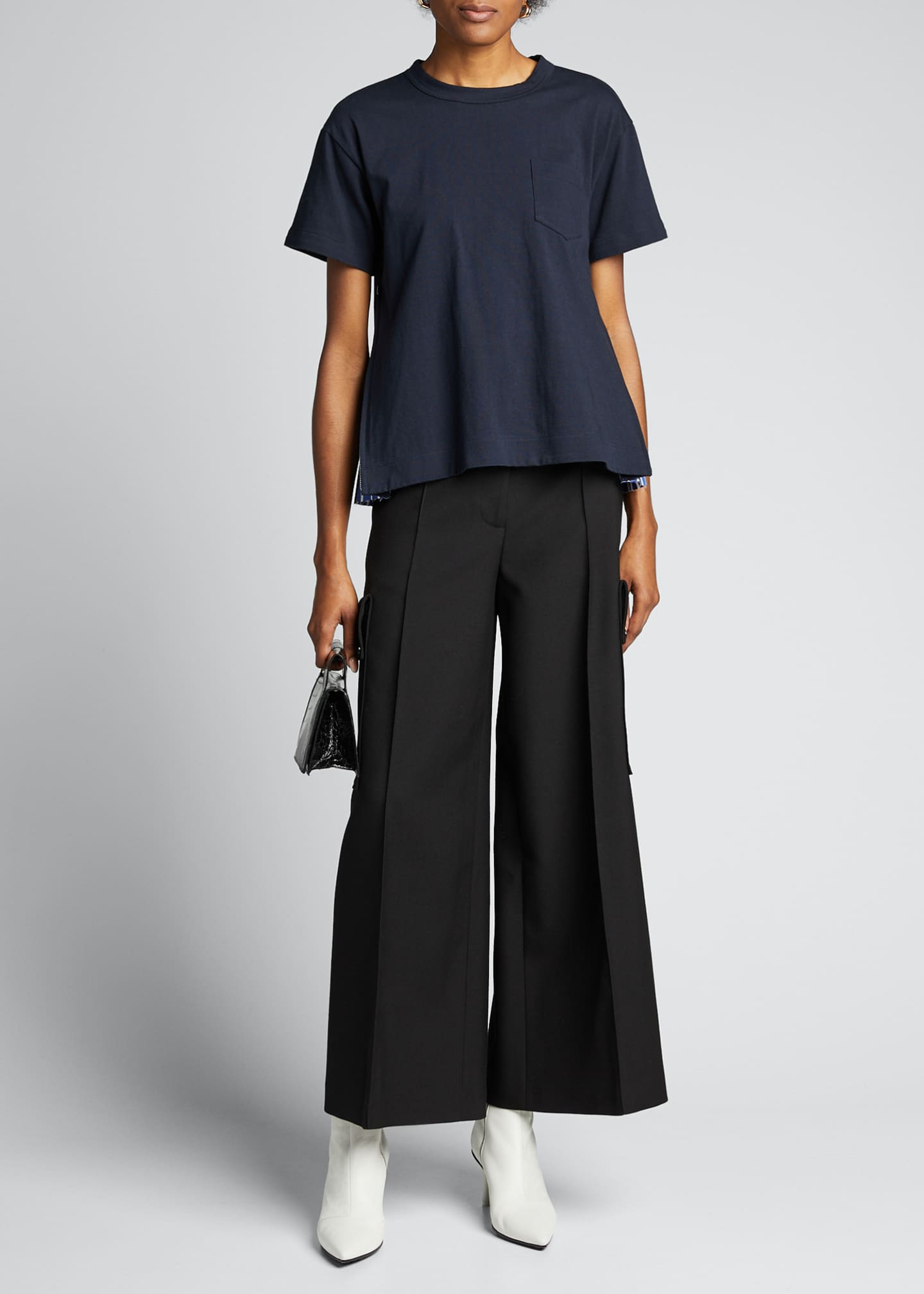 SACAI Tee with Striped Pleated Sides