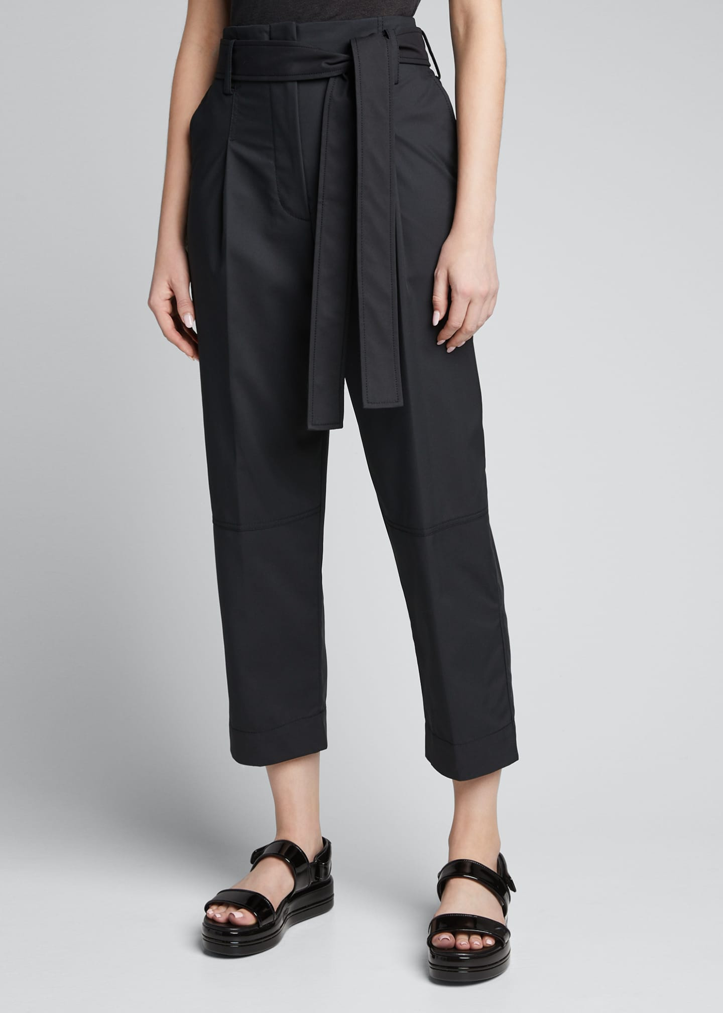 Image 3 of 5: Menswear Cropped Belted Pants