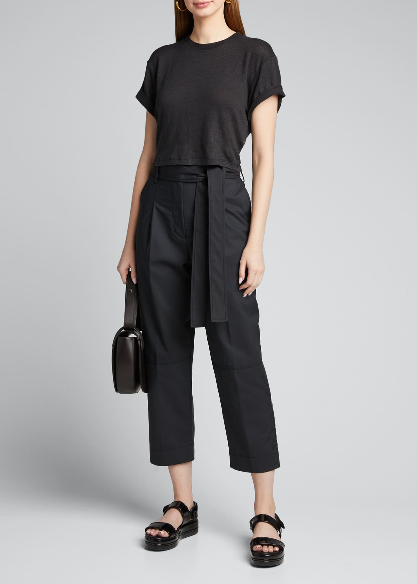 Image 1 of 5: Menswear Cropped Belted Pants