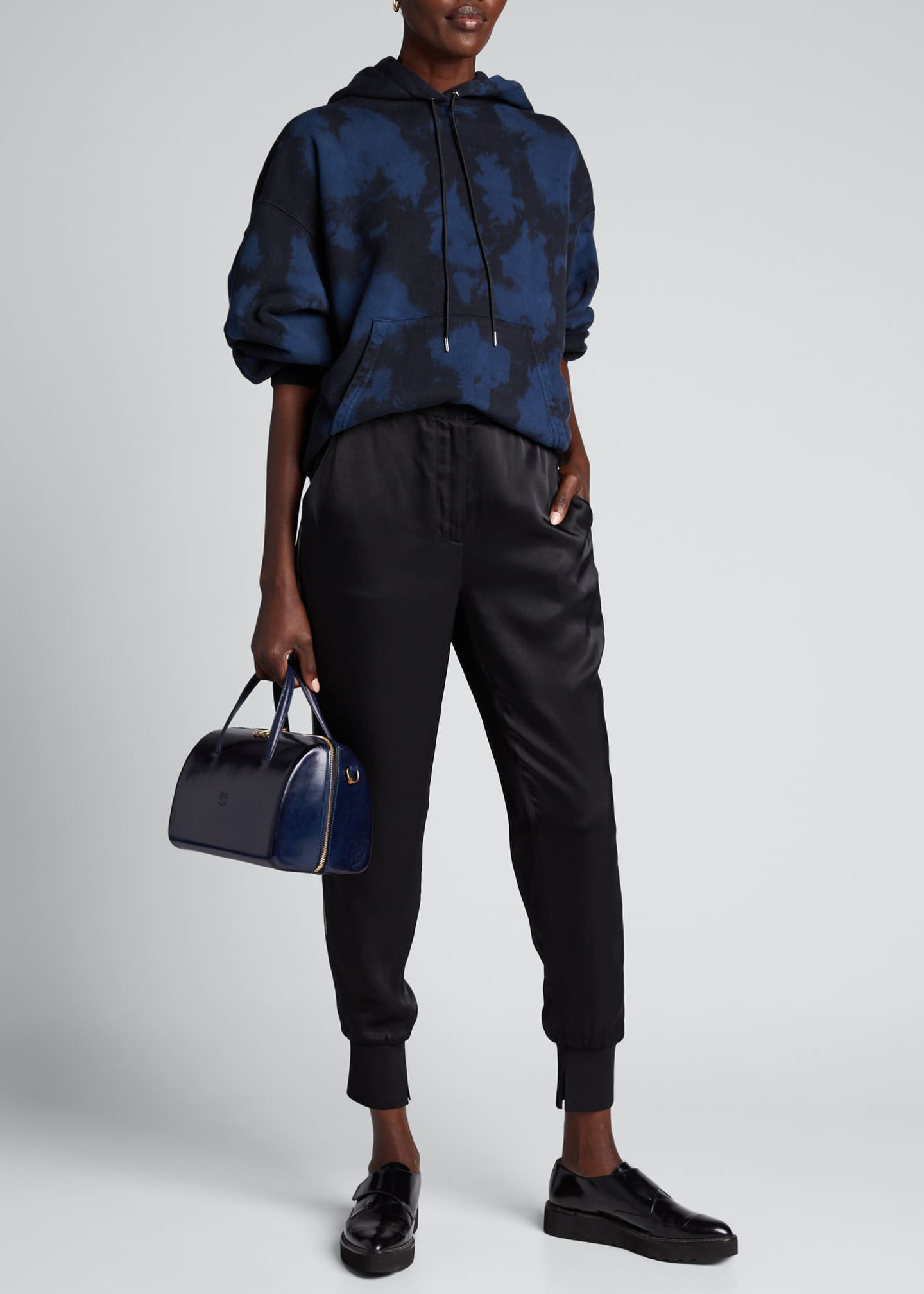 3.1 Phillip Lim Satin Jogger Pants with Ribbed