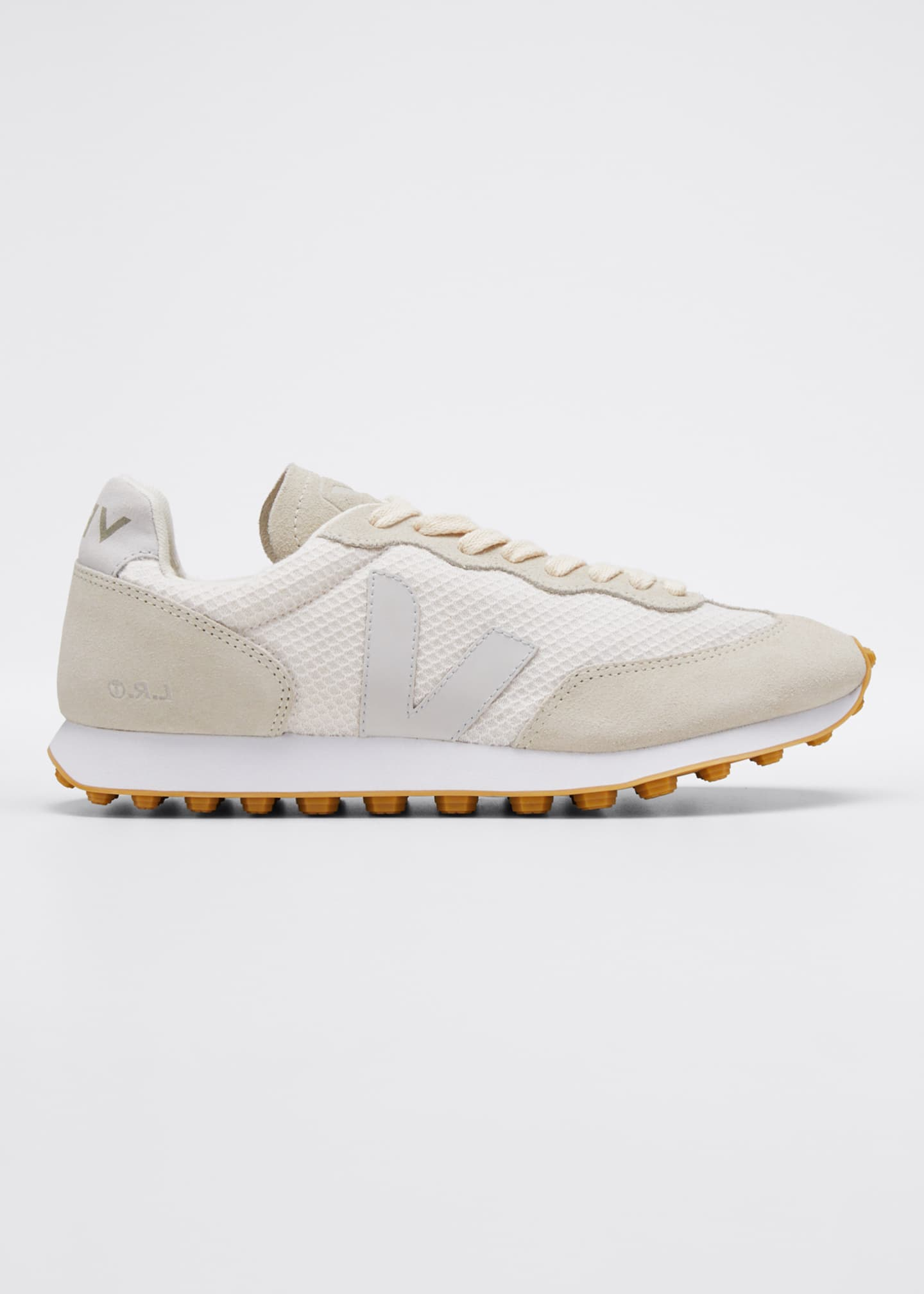 Image 1 of 3: Suede and Mesh Runner Sneakers, Cream