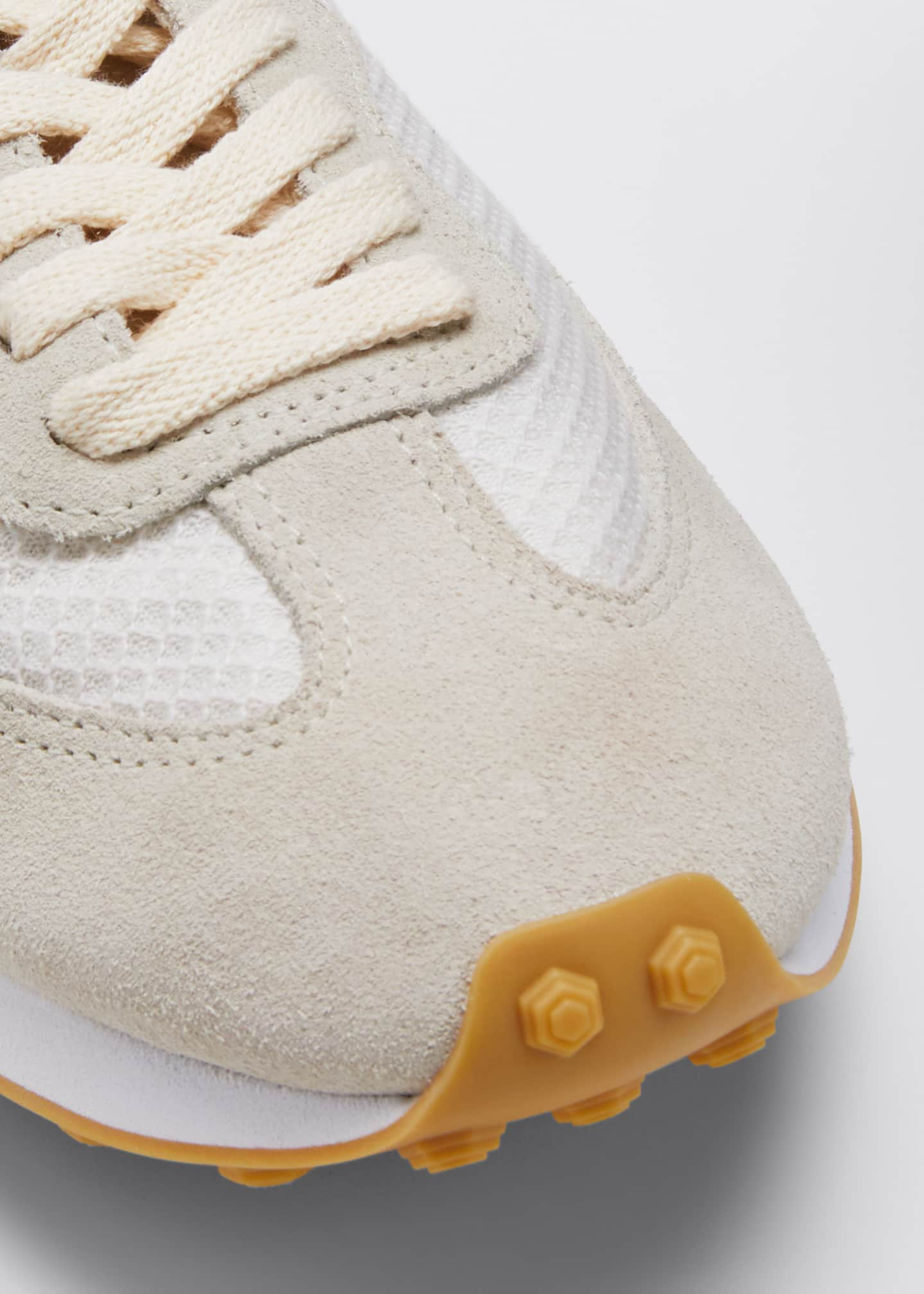 Image 3 of 3: Suede and Mesh Runner Sneakers, Cream