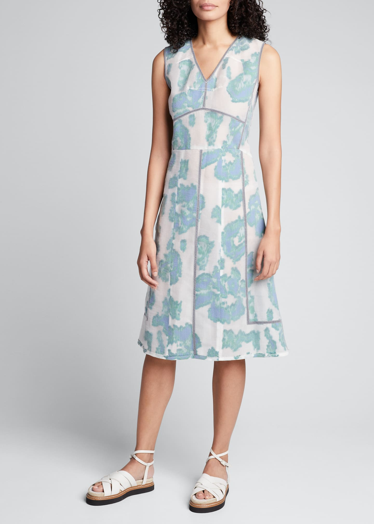 Image 3 of 5: Abstract Daisy Fil Coupe Midi Dress