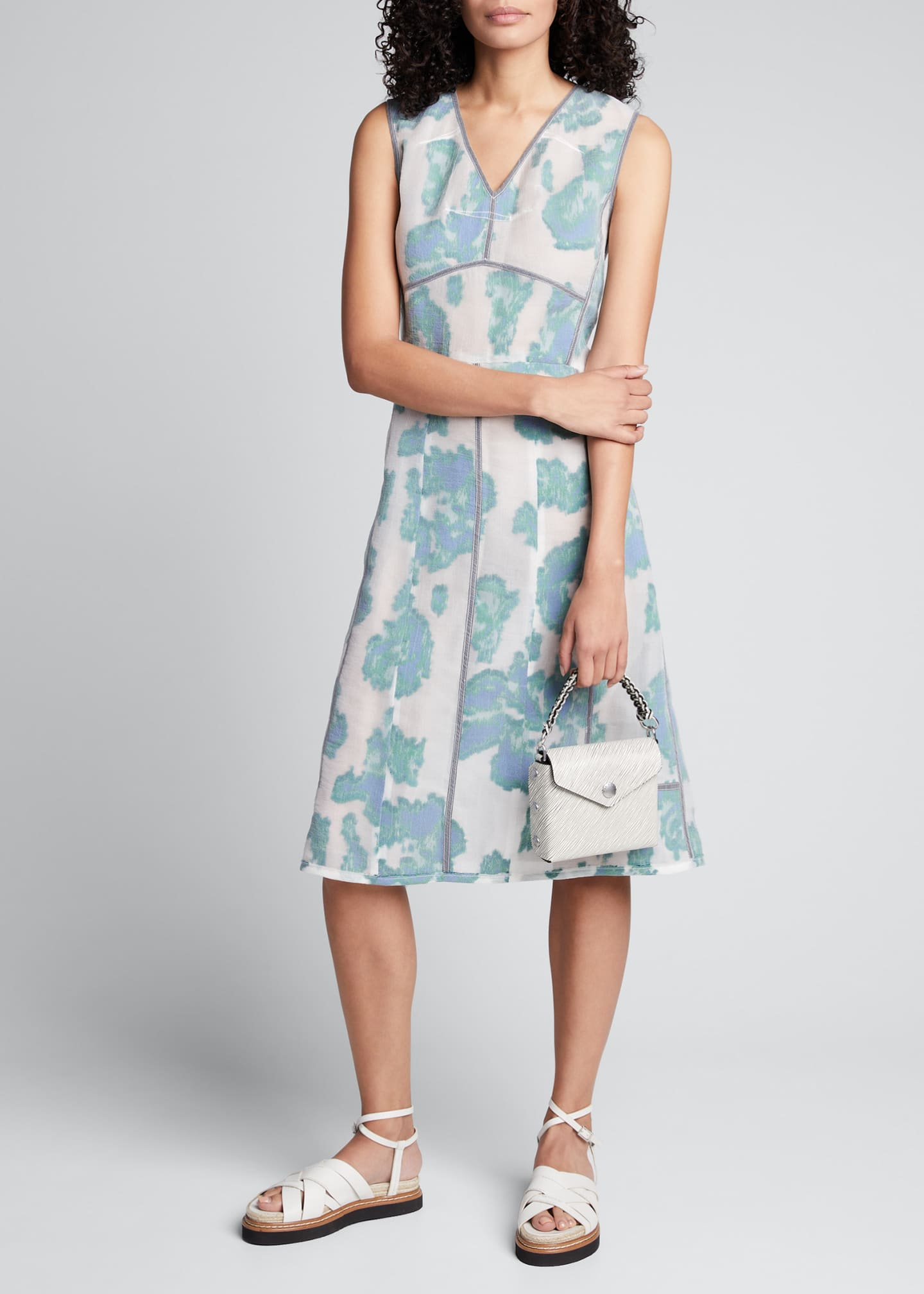 Image 1 of 5: Abstract Daisy Fil Coupe Midi Dress