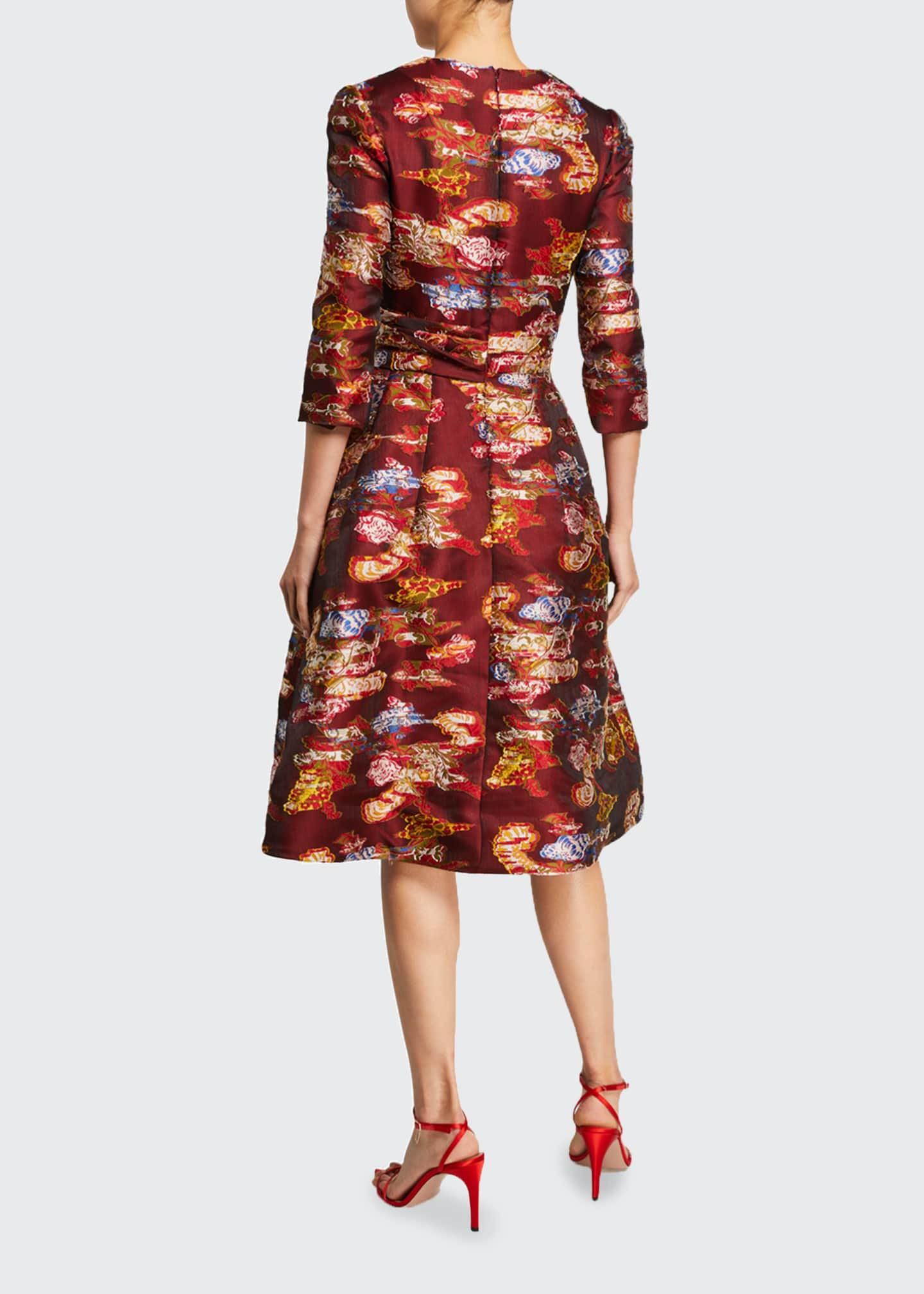 Image 2 of 2: Floral Fil Coupe 3/4-Sleeve Cocktail Dress
