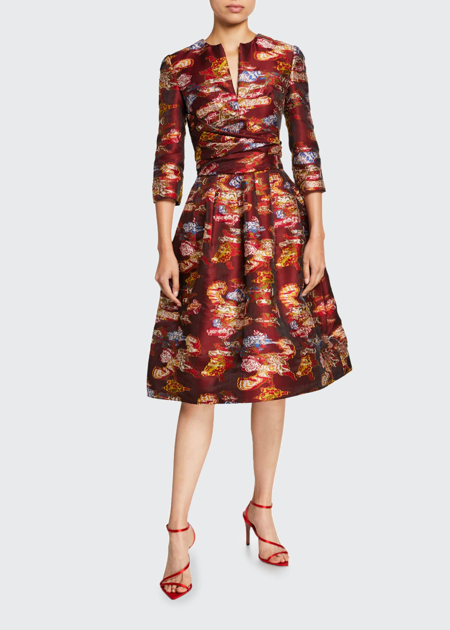 Image 1 of 2: Floral Fil Coupe 3/4-Sleeve Cocktail Dress