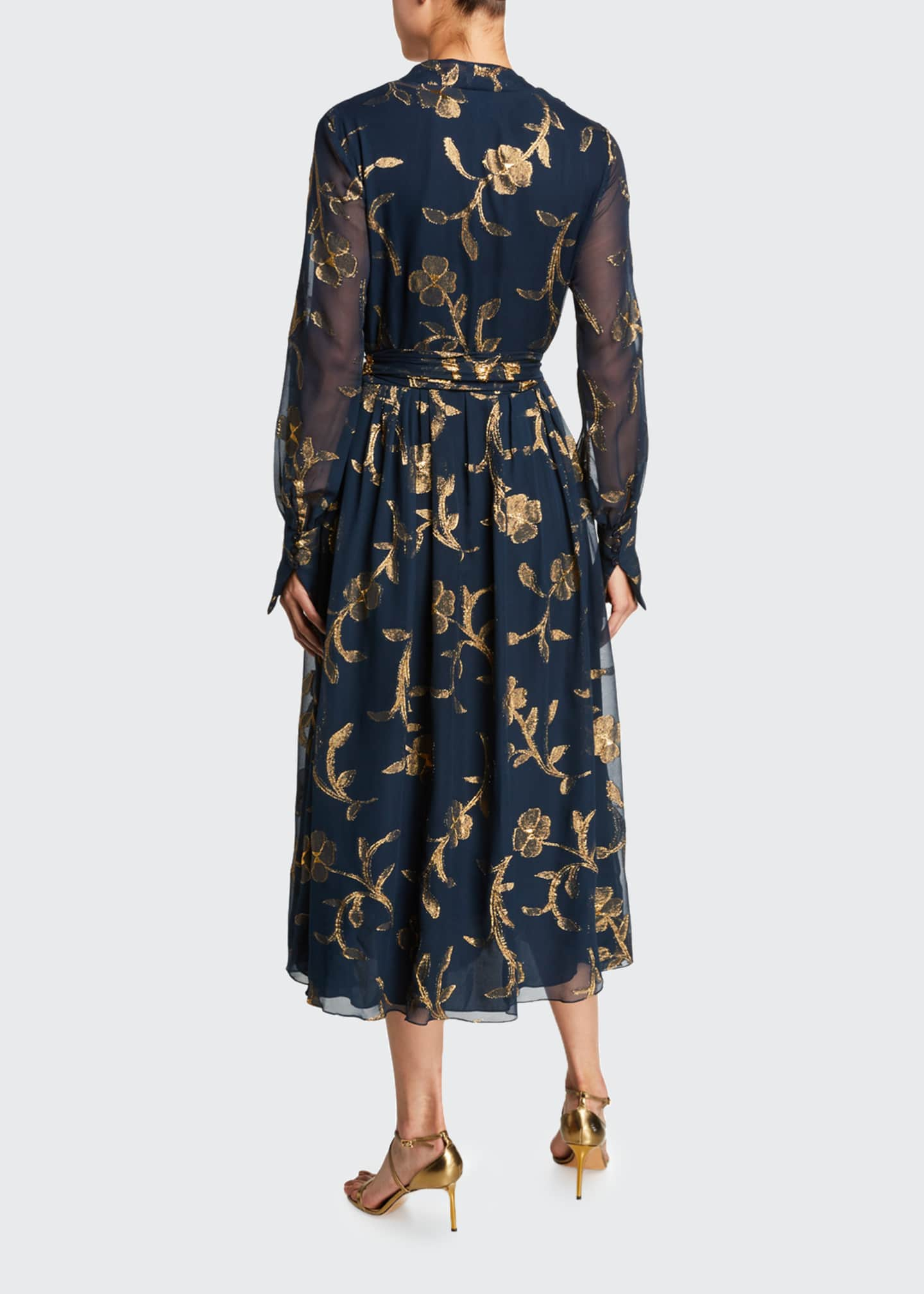Image 2 of 2: Metallic-Embroidered Chiffon Tea Length Dress