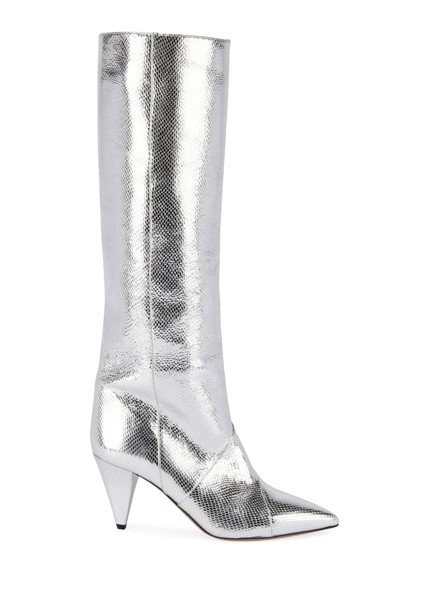 Image 2 of 4: Laomi Metallic Leather Mid Boots