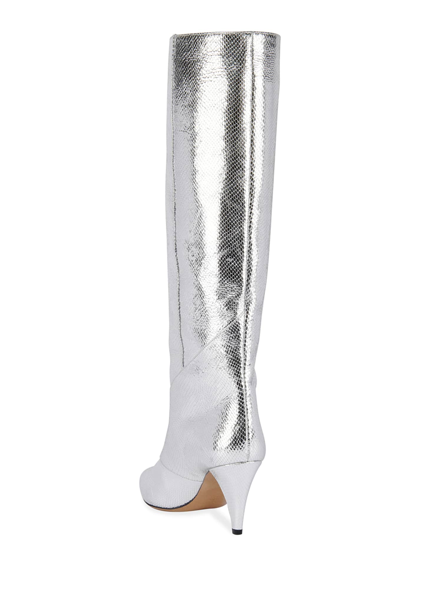Image 4 of 4: Laomi Metallic Leather Mid Boots