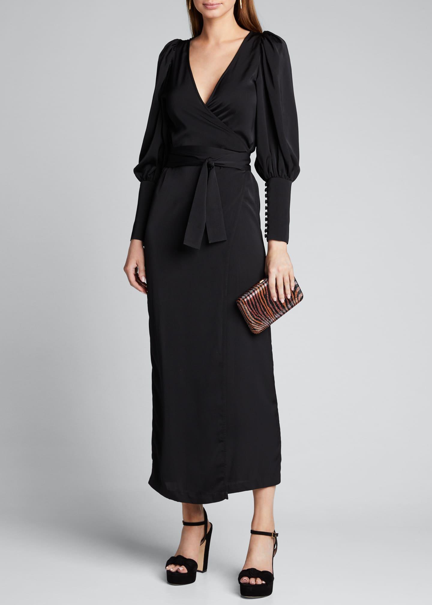 Rhode Aspen Blouson-Sleeve Wrap Dress