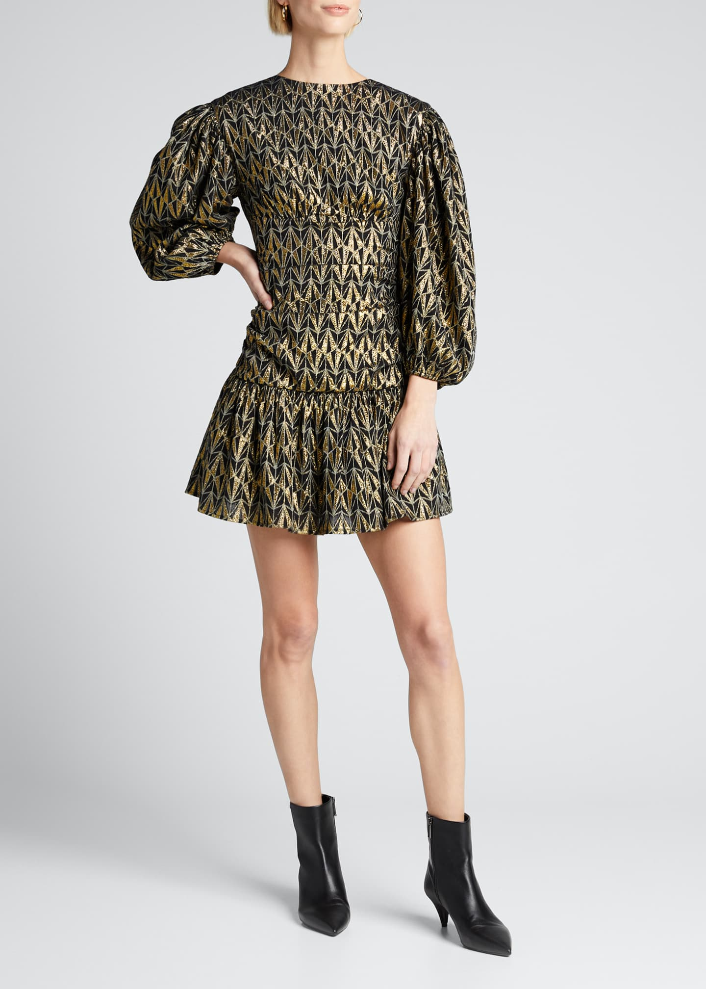 Image 3 of 5: Donna Geo-Print Metallic Blouson-Sleeve Dress
