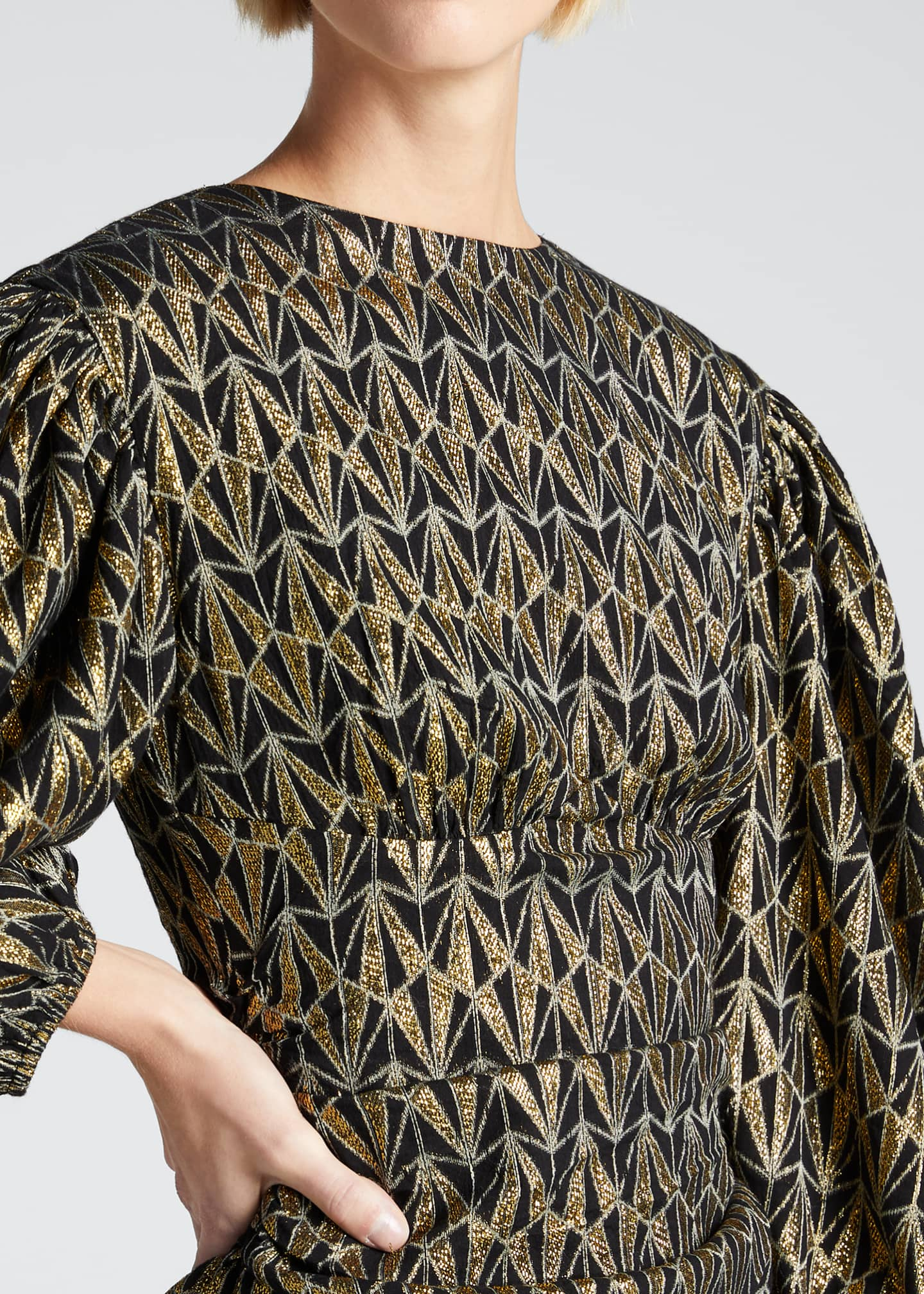 Image 4 of 5: Donna Geo-Print Metallic Blouson-Sleeve Dress