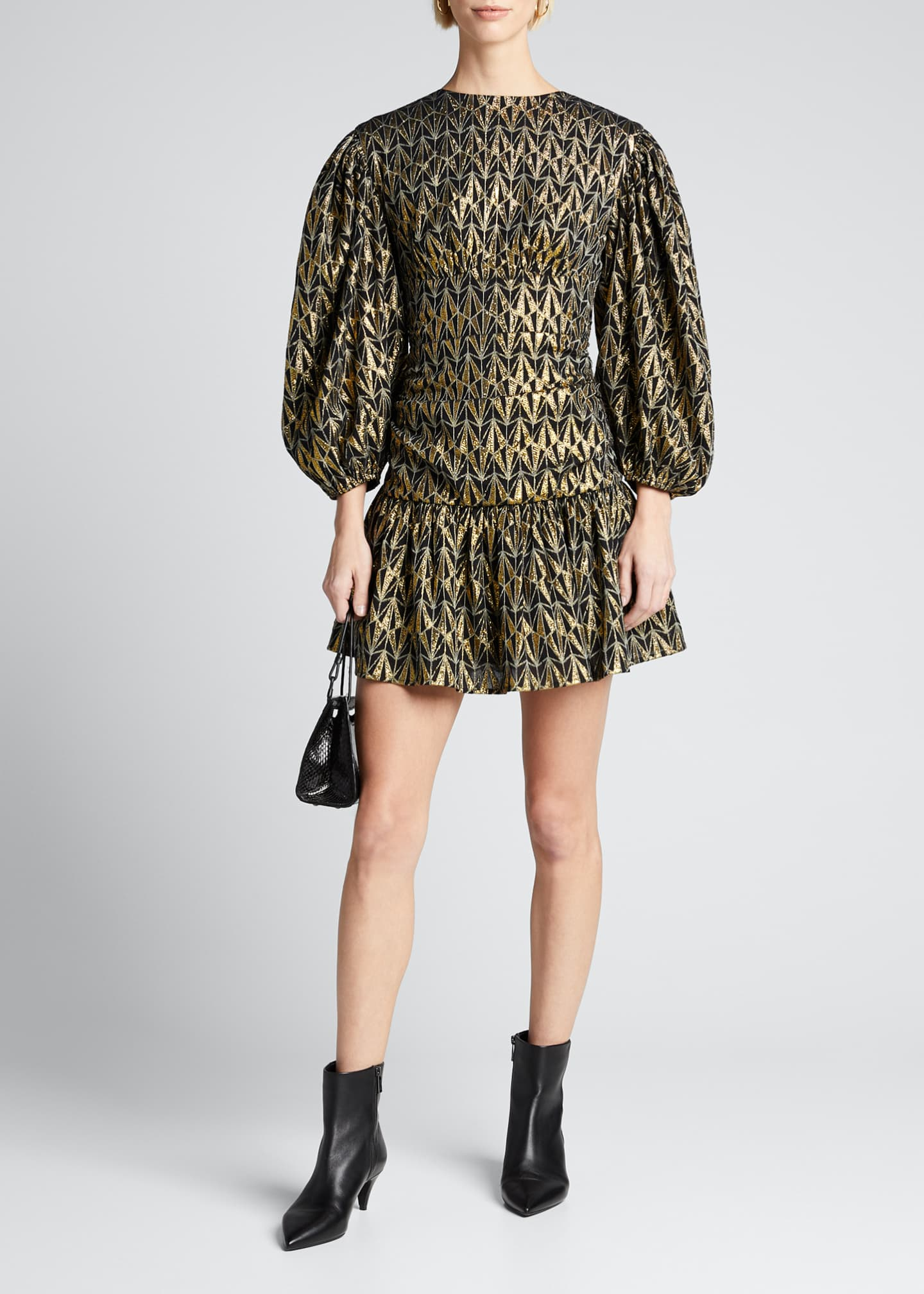 Image 1 of 5: Donna Geo-Print Metallic Blouson-Sleeve Dress