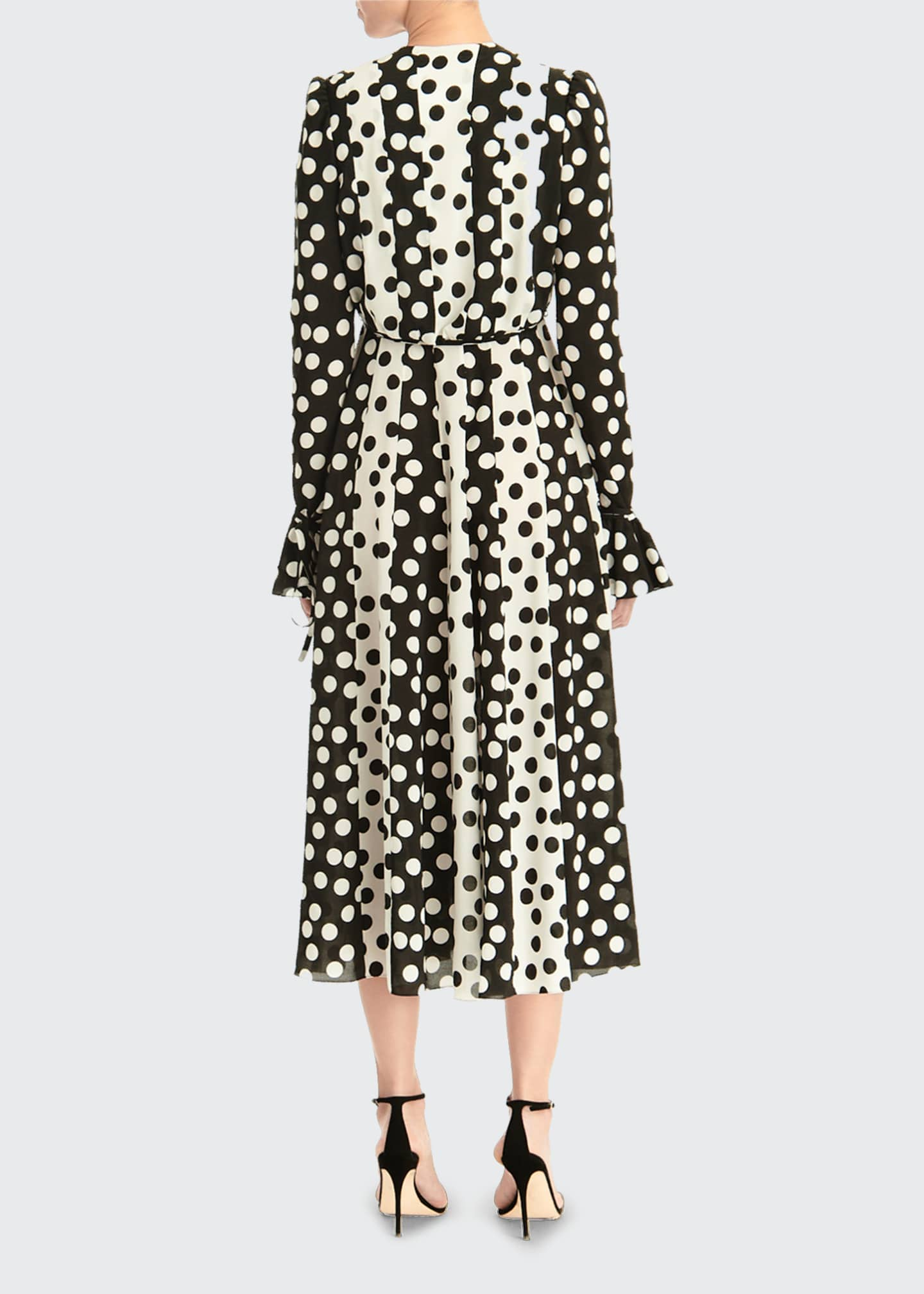 Image 2 of 3: Long-Sleeve Polka Dot Midi Dress