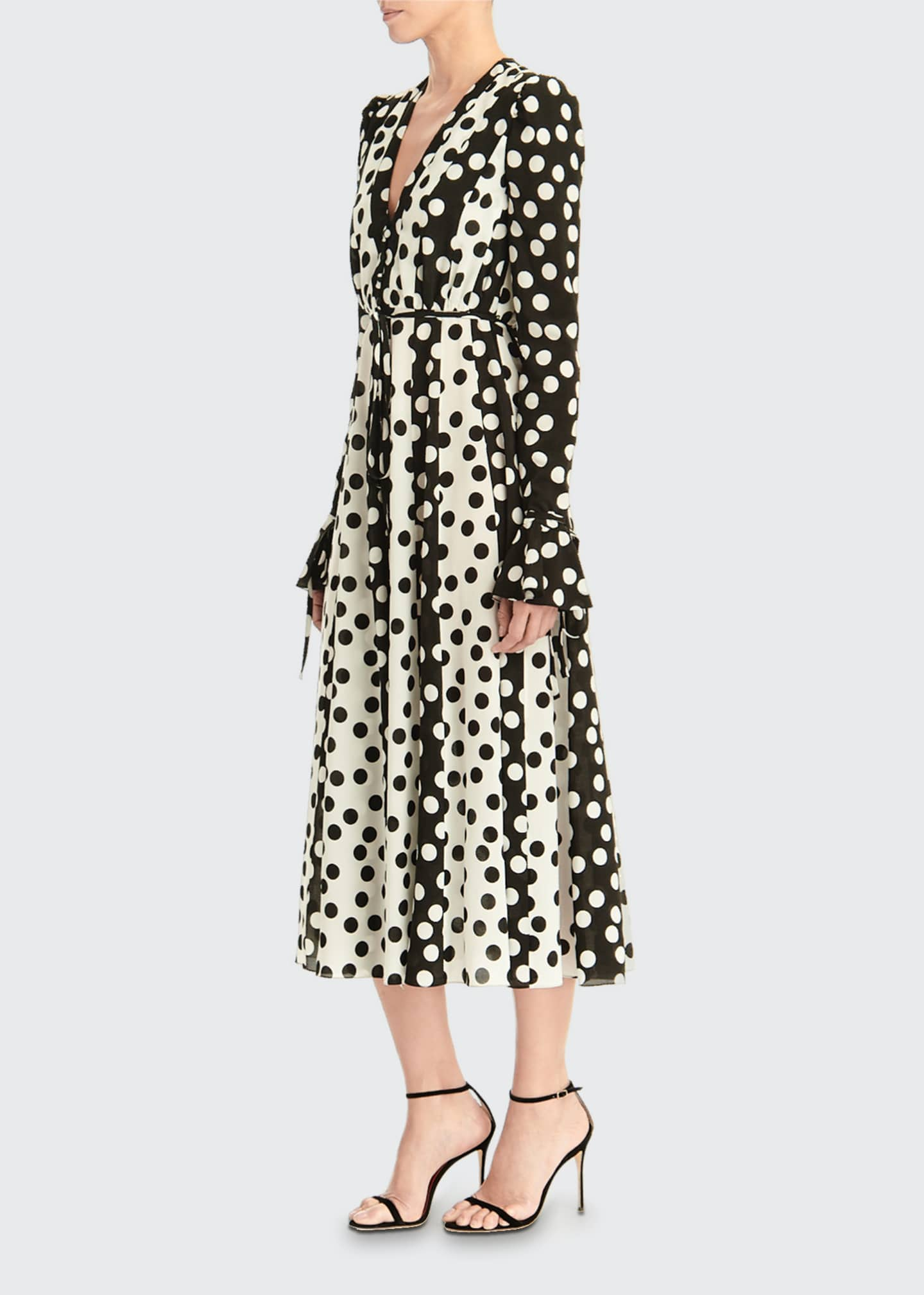 Image 3 of 3: Long-Sleeve Polka Dot Midi Dress