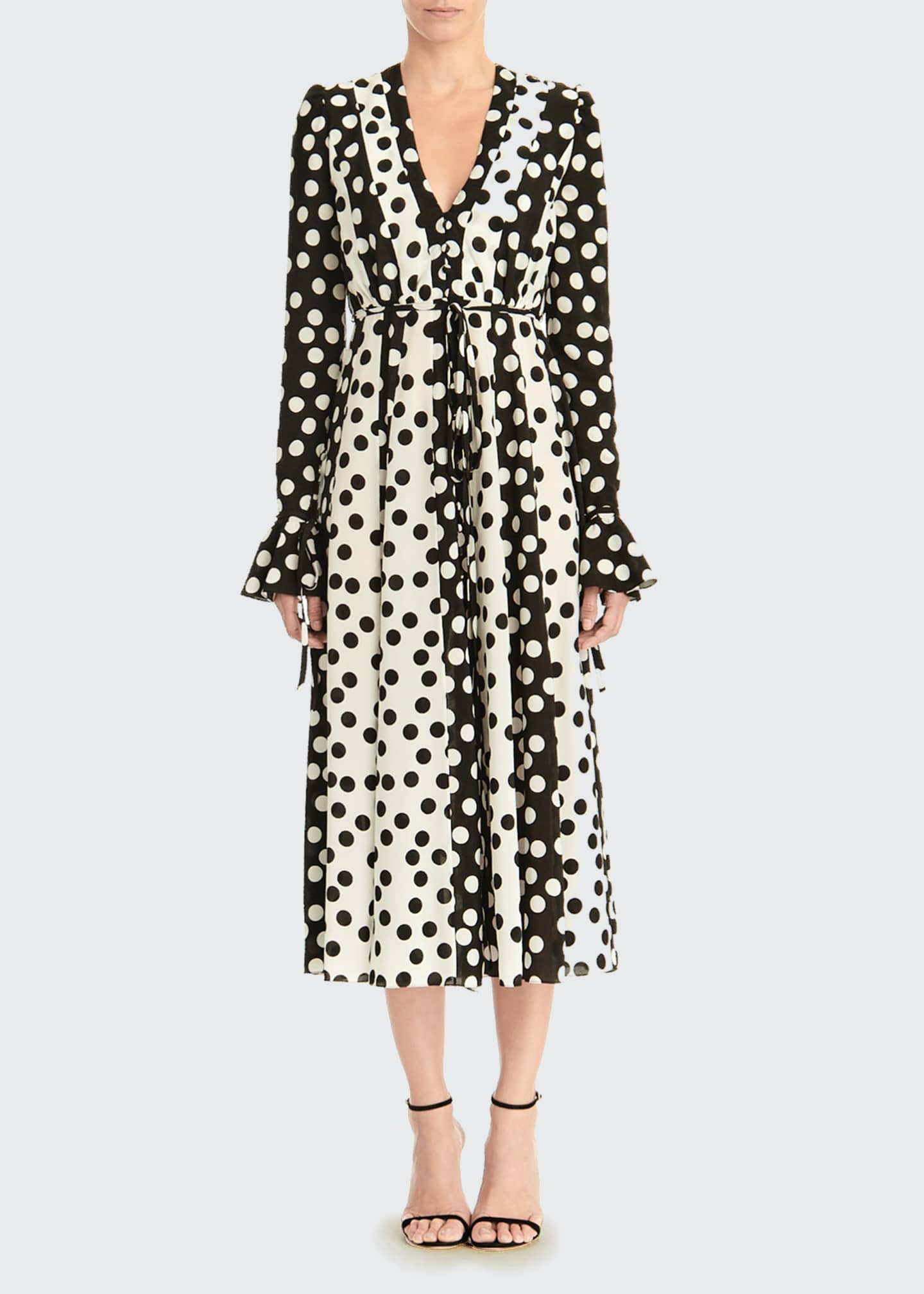Image 1 of 3: Long-Sleeve Polka Dot Midi Dress