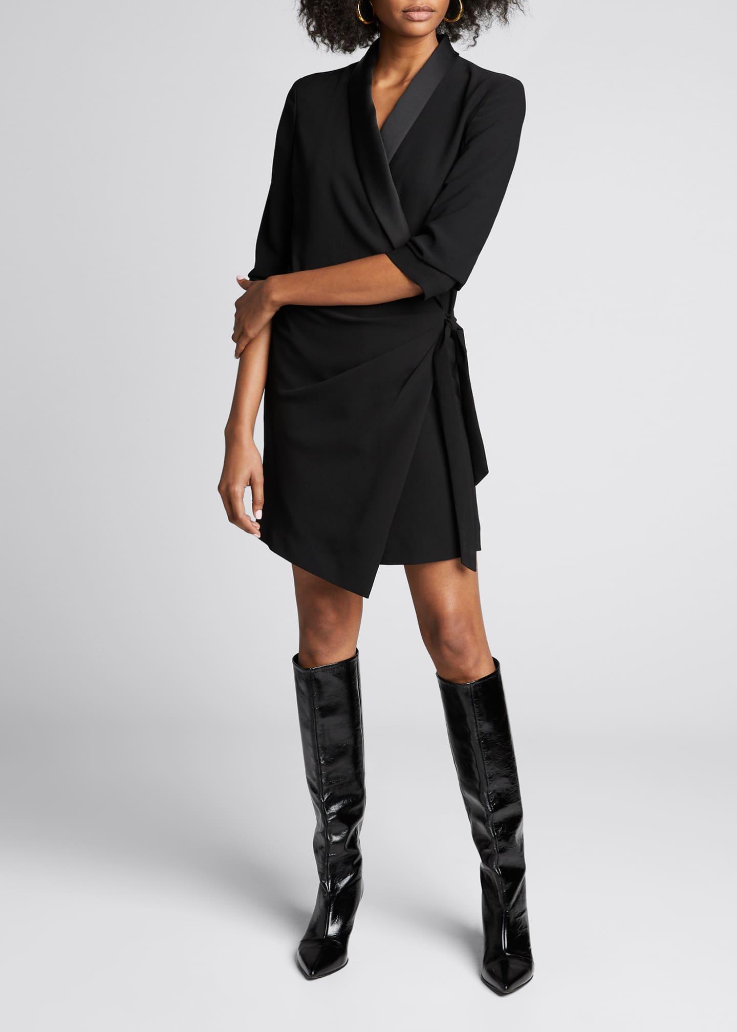 FRAME Tuxedo 3/4-Sleeve Wrap Dress