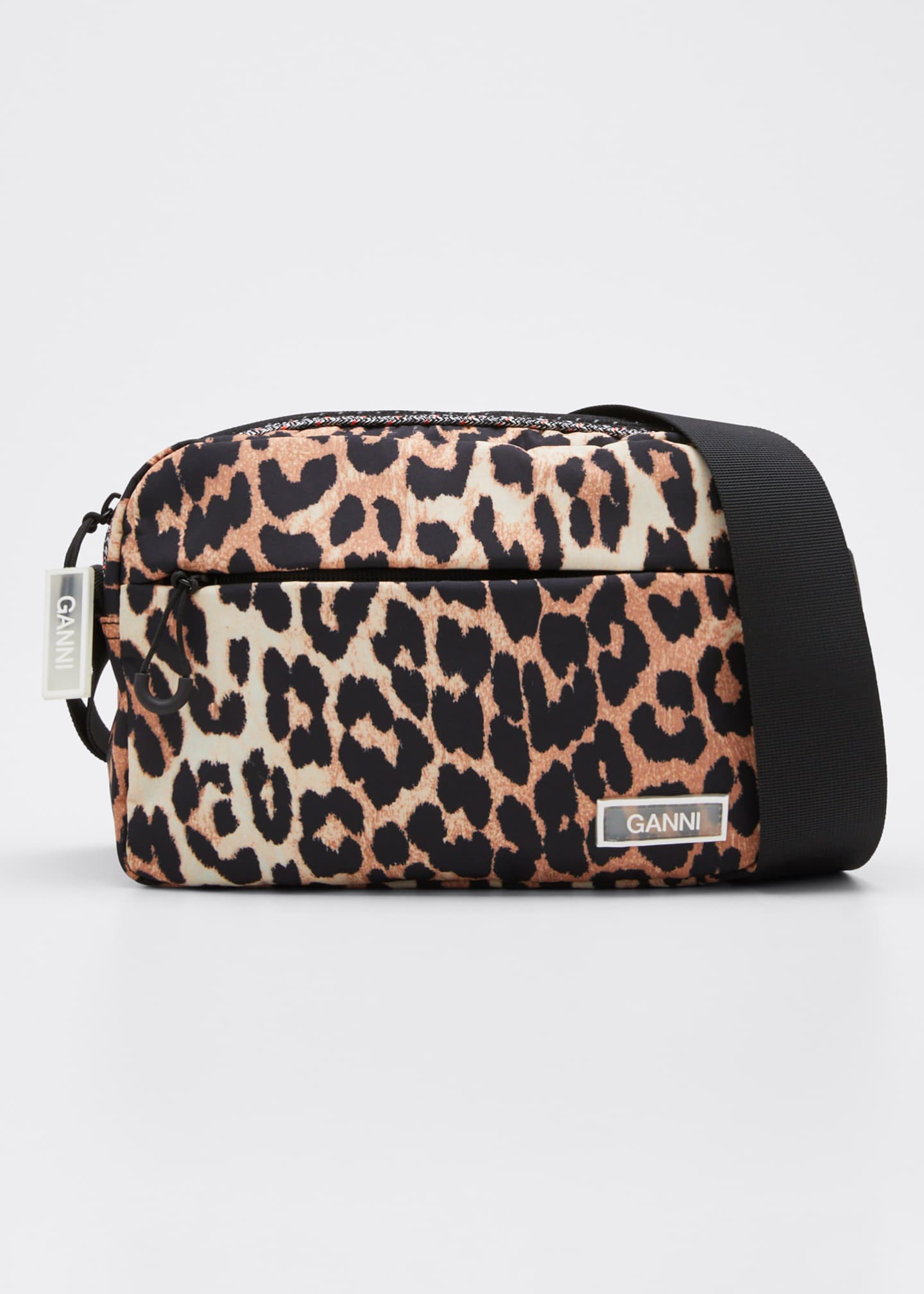 Ganni Nylon Leopard Crossbody Bag