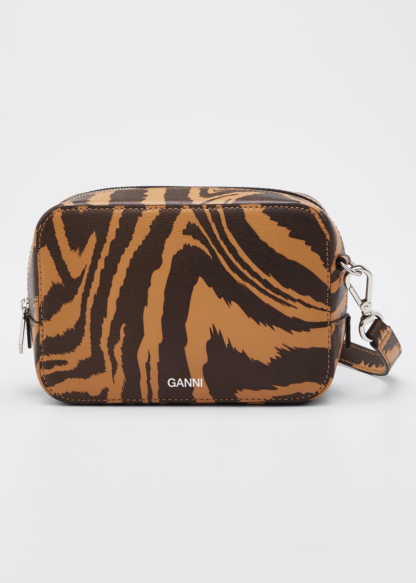 Ganni Animal-Print Camera Crossbody Bag