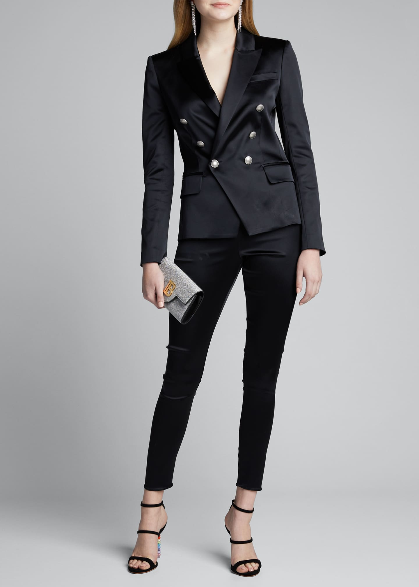 L'Agence Kenzie Double-Breasted Satin Blazer