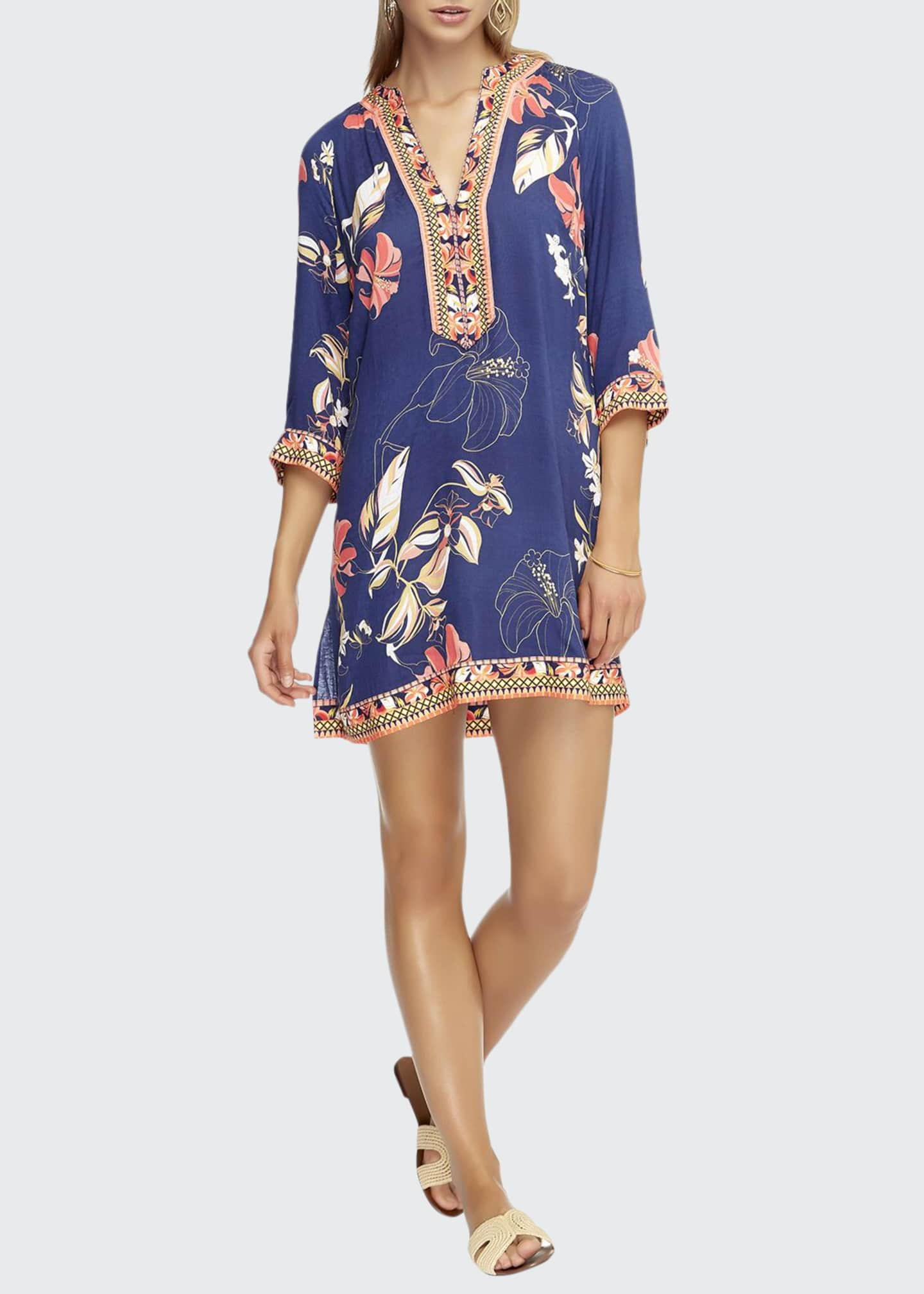 JETS by Jessika Allen Floral-Print 3/4-Sleeve Coverup Kaftan