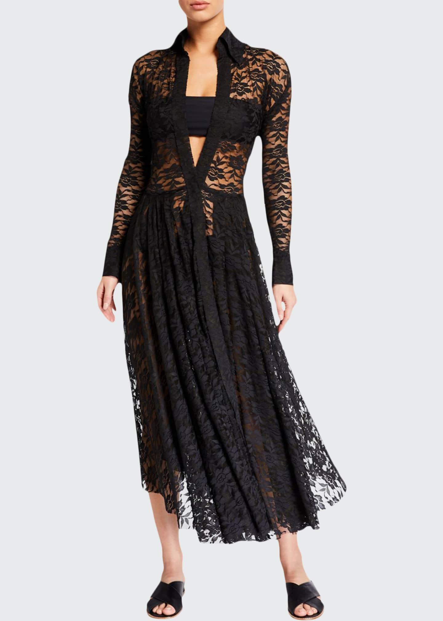Norma Kamali Flared Lace Long-Sleeve Coverup Dress