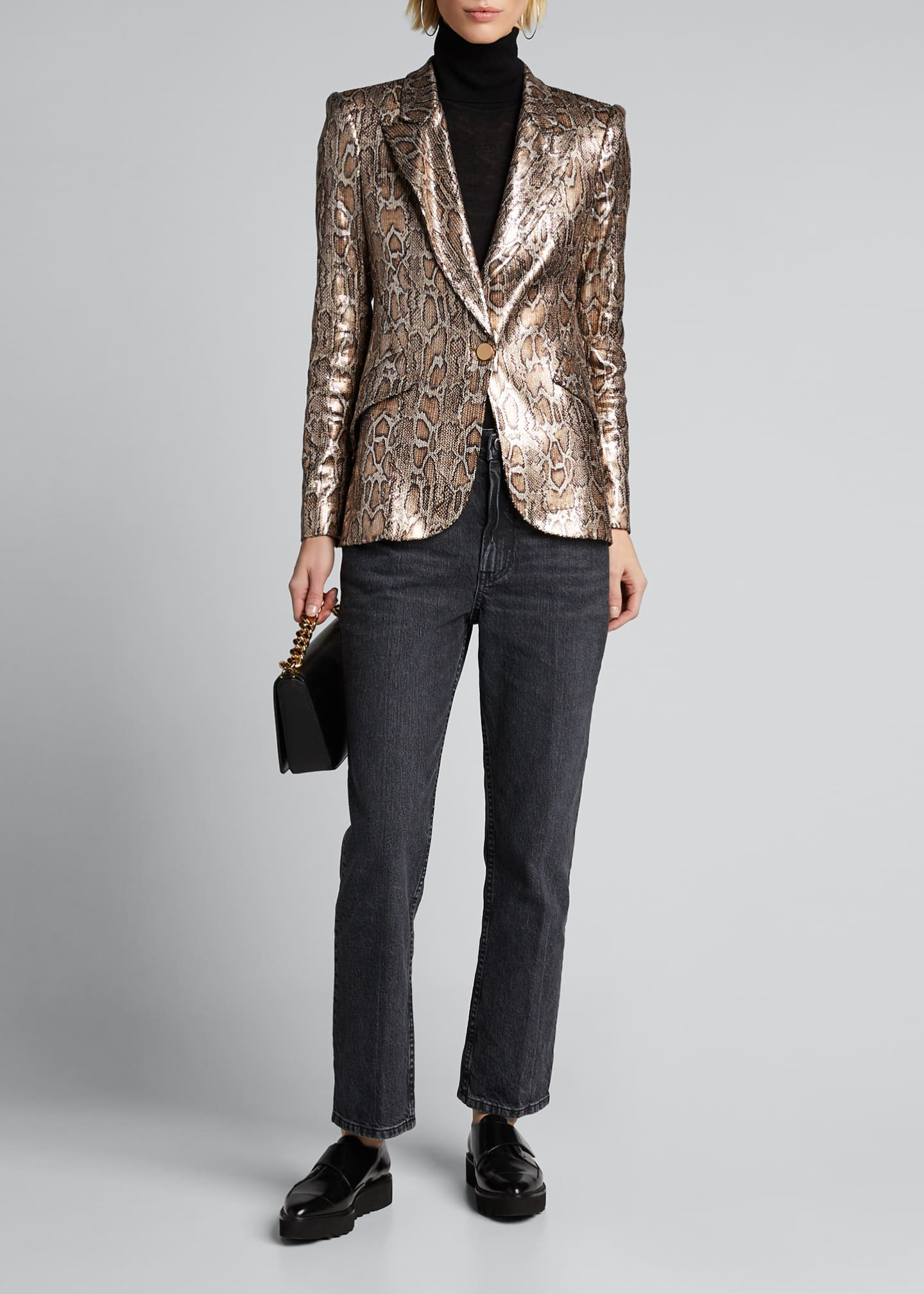 L'Agence Chamberlain Sequined Python Blazer
