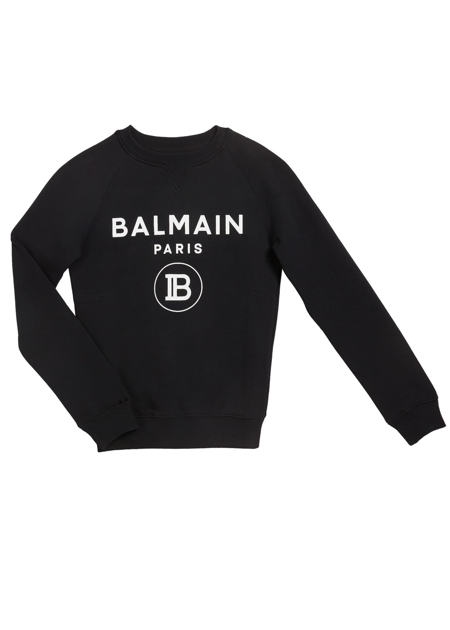 Balmain Kid's Pullover Logo Sweatshirt, Size 4-10