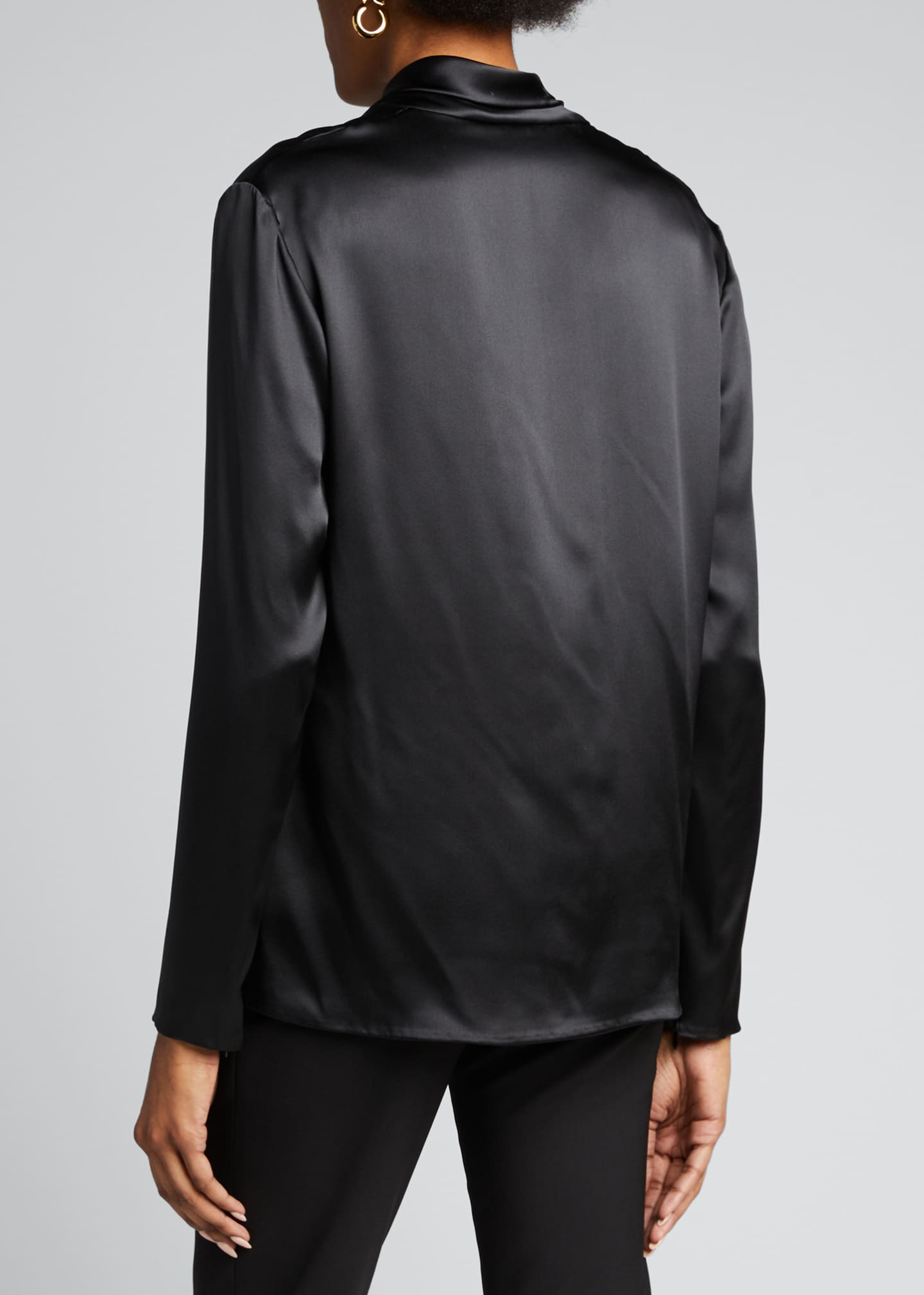 Image 2 of 5: Long-Sleeve Low Drape Front Silk Top w/ Attached Scarf