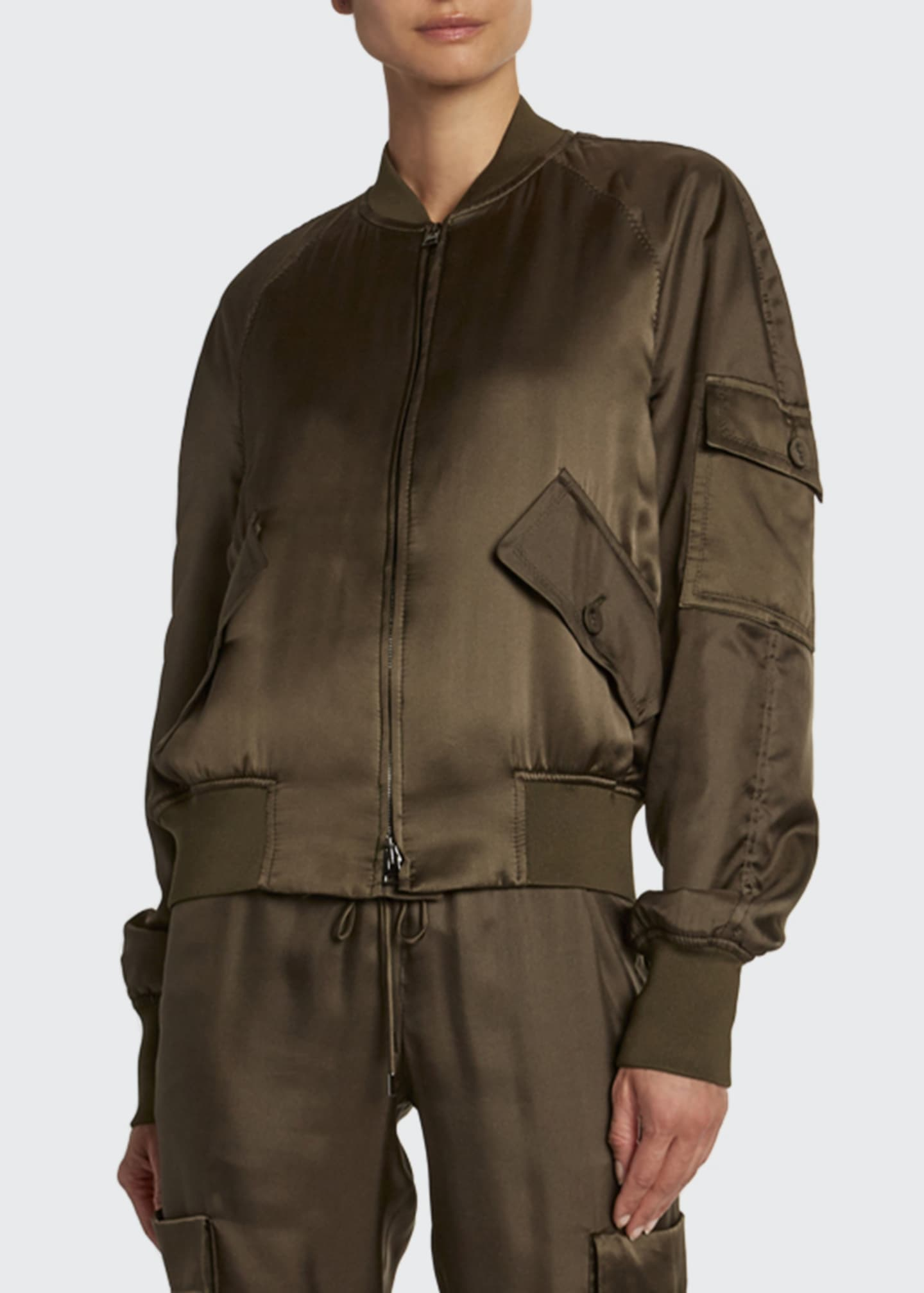 Image 3 of 3: Satin Bomber with Removable Scarf