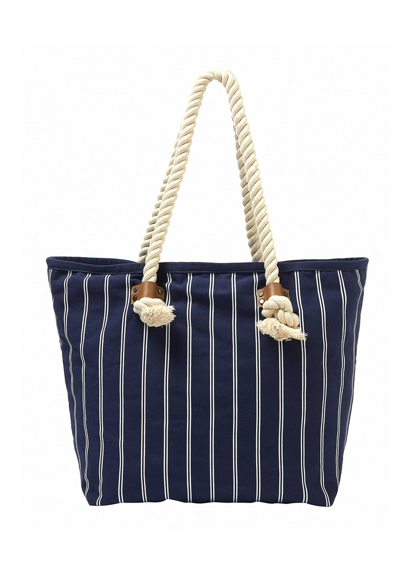 Image 2 of 2: Striped Denim Beach Tote Bag