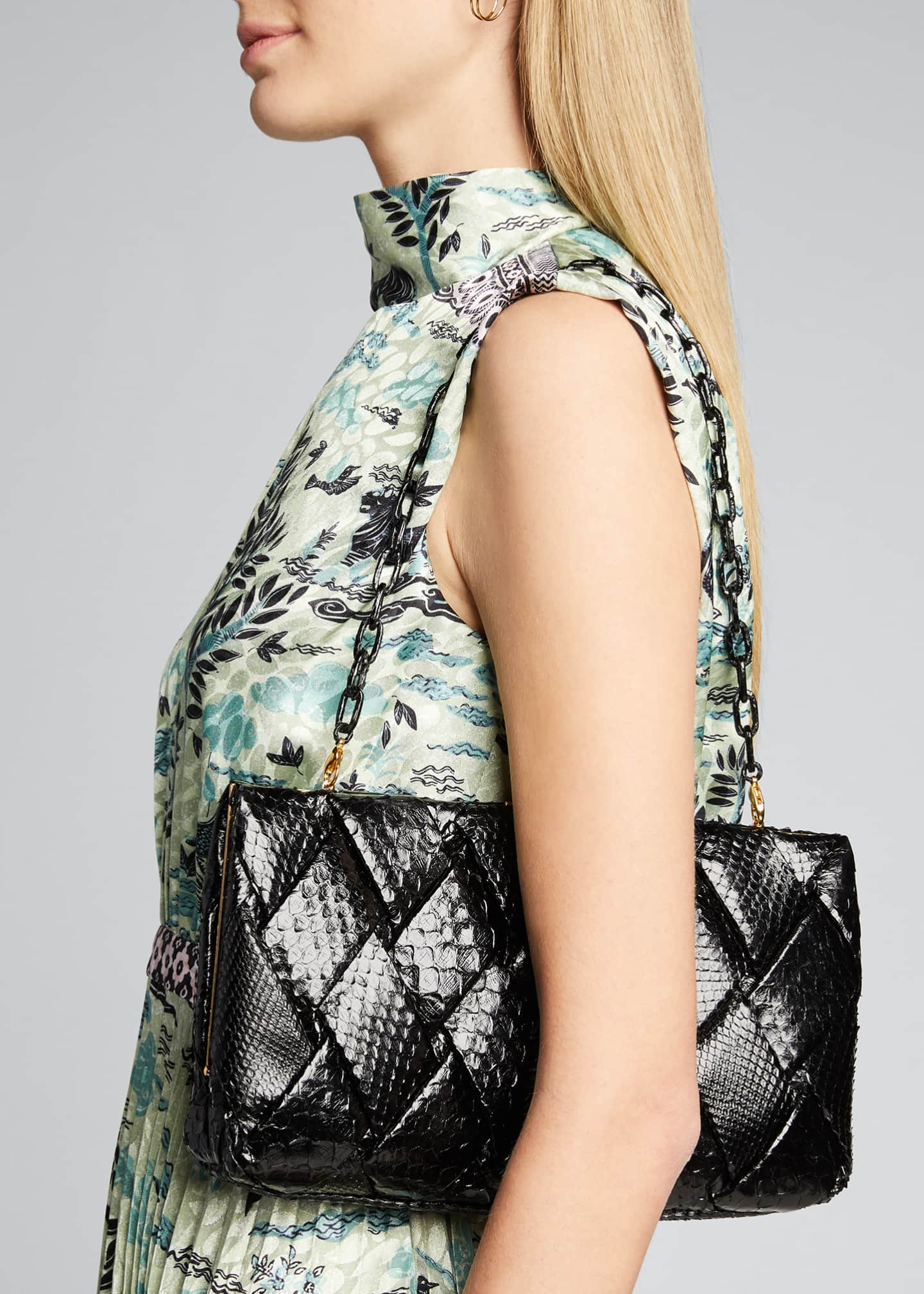 Image 2 of 5: Large Woven Python Frame Clutch Bag