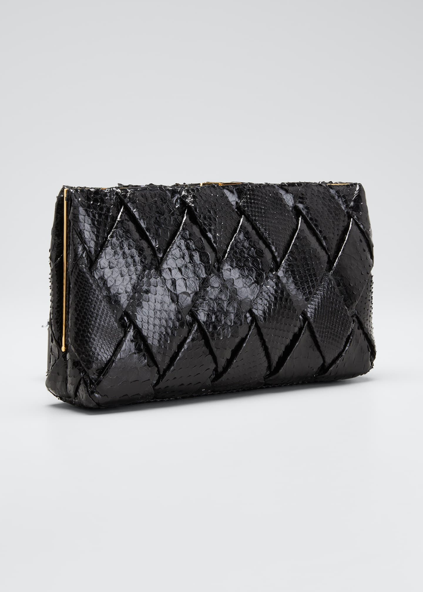 Image 3 of 5: Large Woven Python Frame Clutch Bag