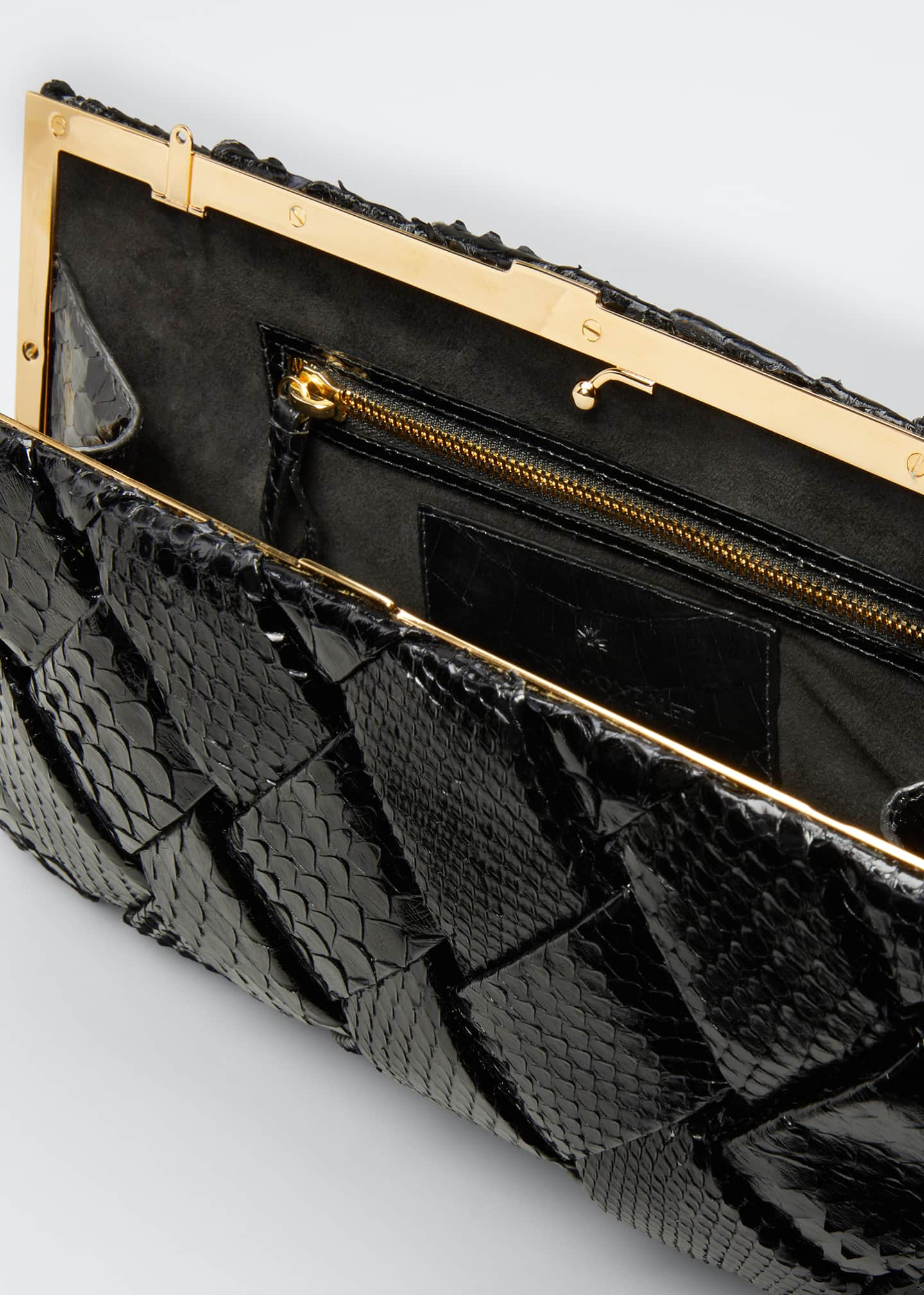Image 4 of 5: Large Woven Python Frame Clutch Bag