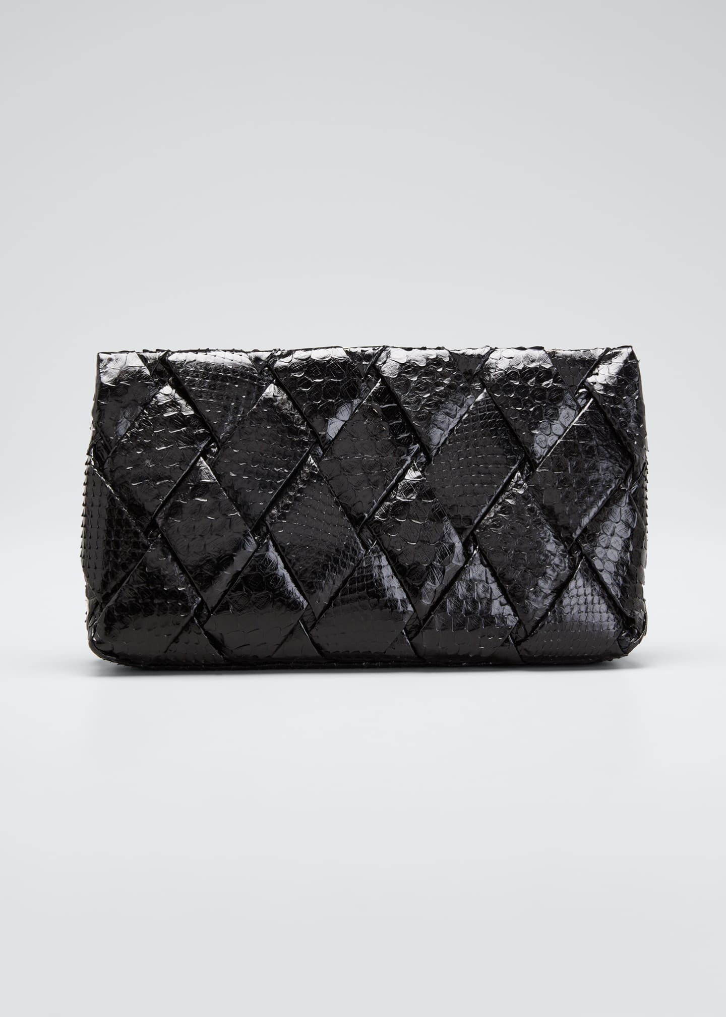 Image 1 of 5: Large Woven Python Frame Clutch Bag