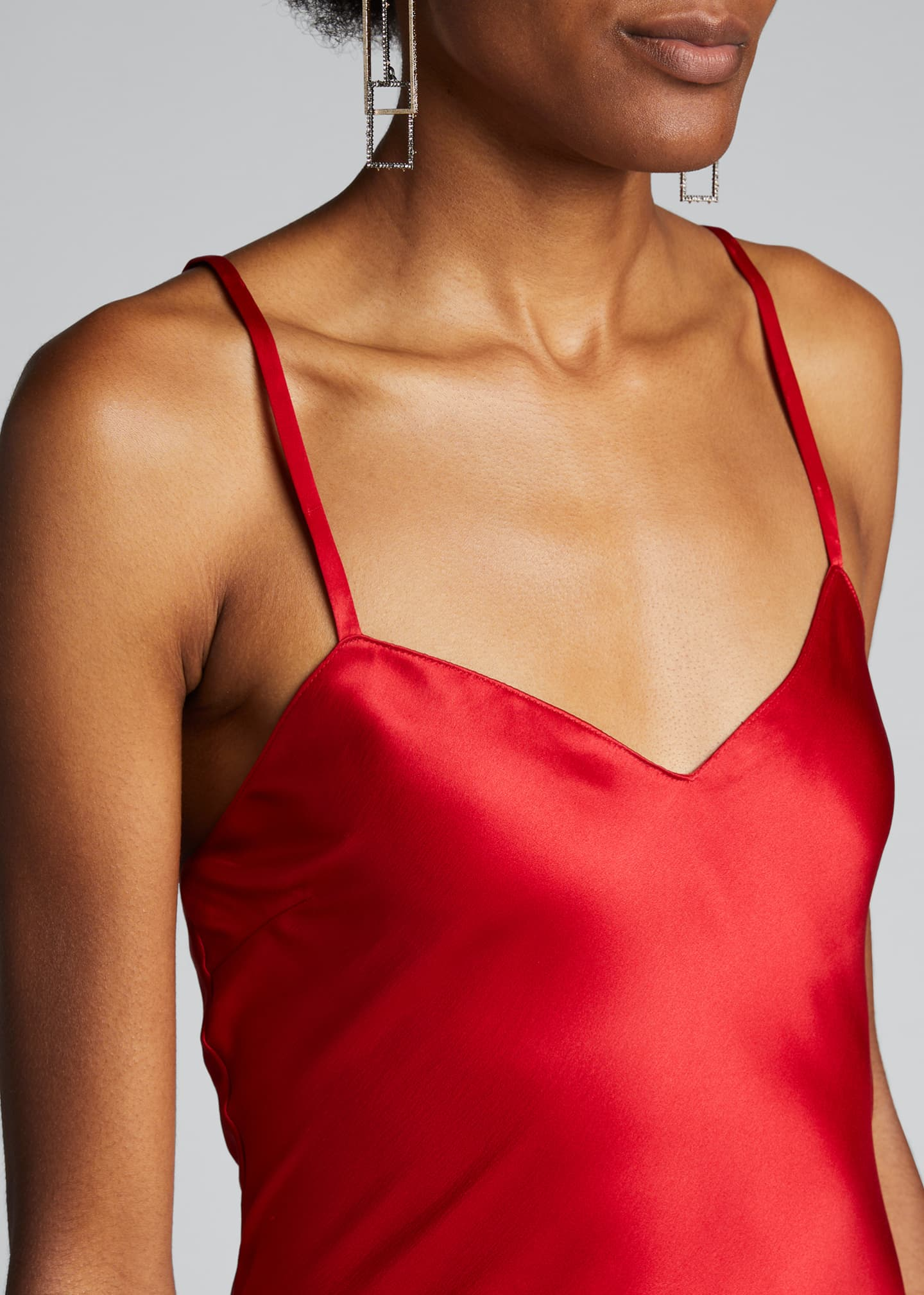 Image 4 of 5: Evelyn V-Neck Satin Slip Evening Gown