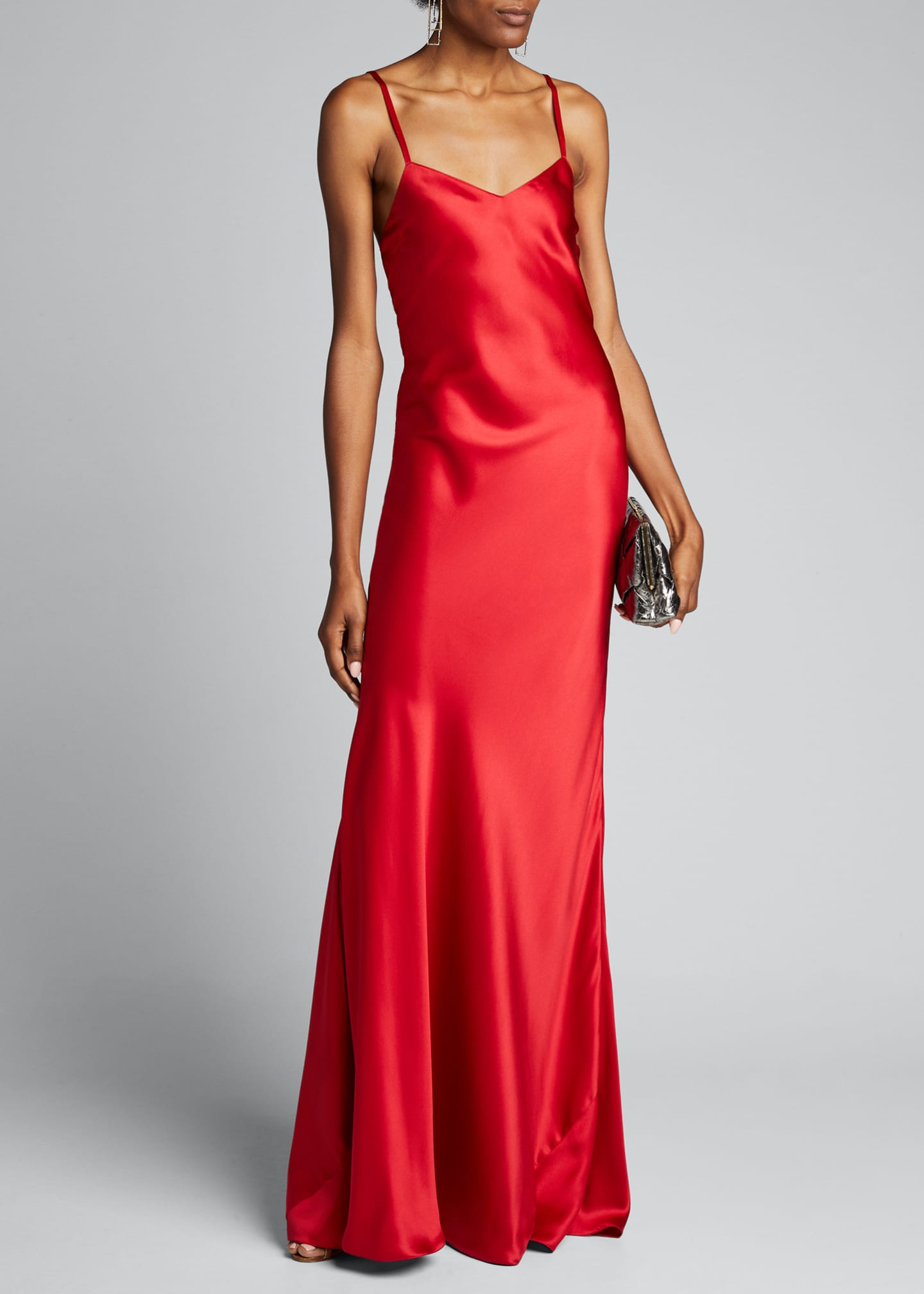 Evelyn V-Neck Satin Slip Evening Gown