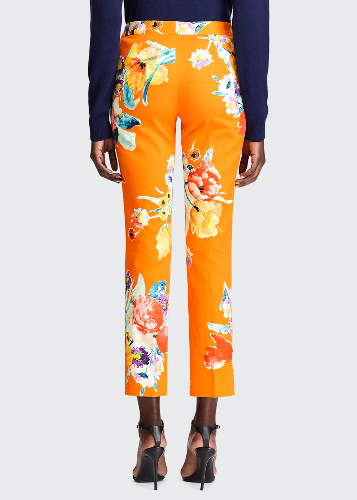 Image 2 of 3: Carlina Floral-Print Stretch-Cotton Crop Pants