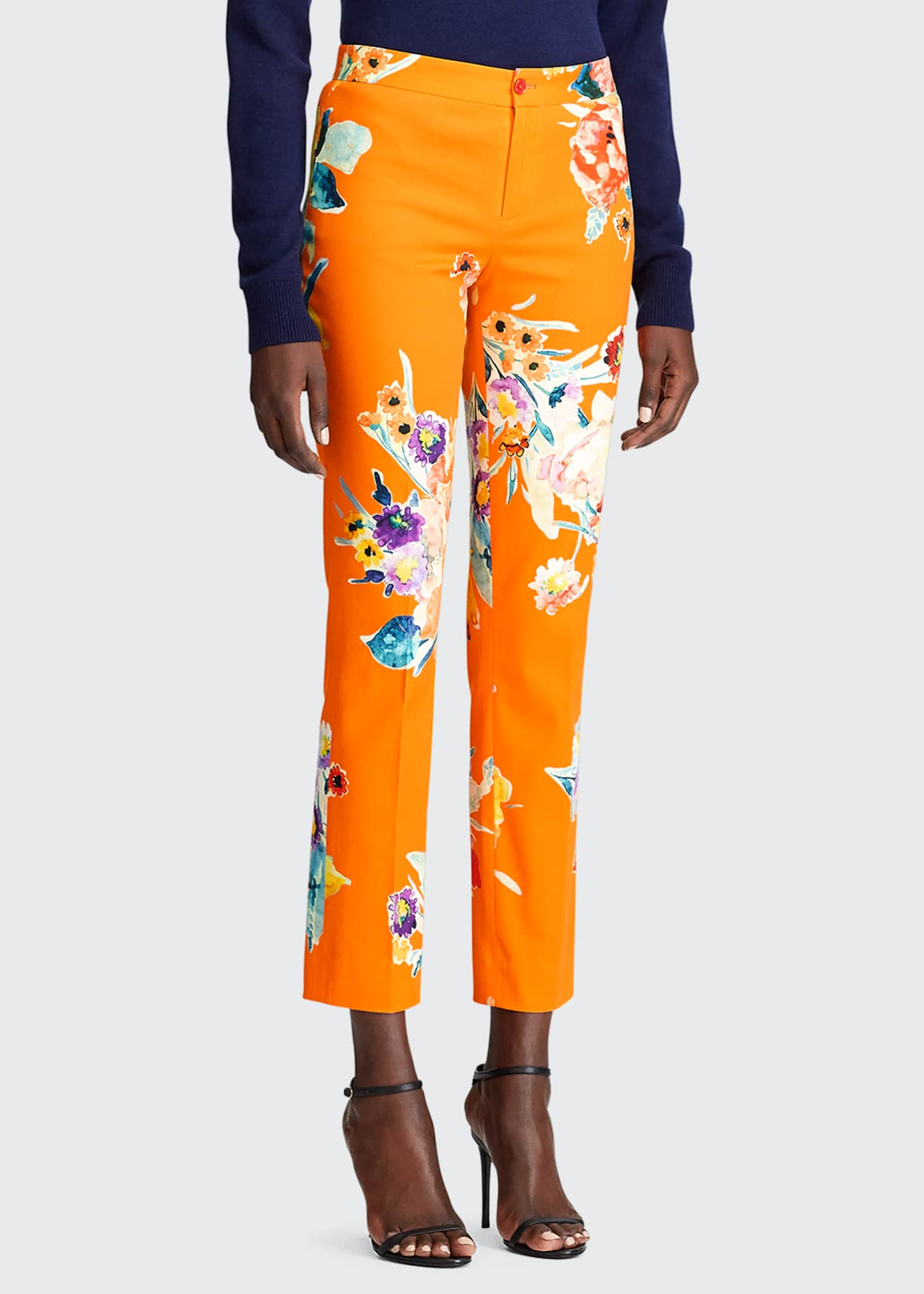 Image 3 of 3: Carlina Floral-Print Stretch-Cotton Crop Pants
