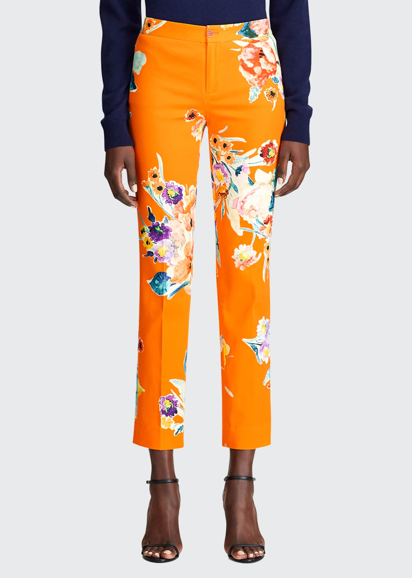 Image 1 of 3: Carlina Floral-Print Stretch-Cotton Crop Pants