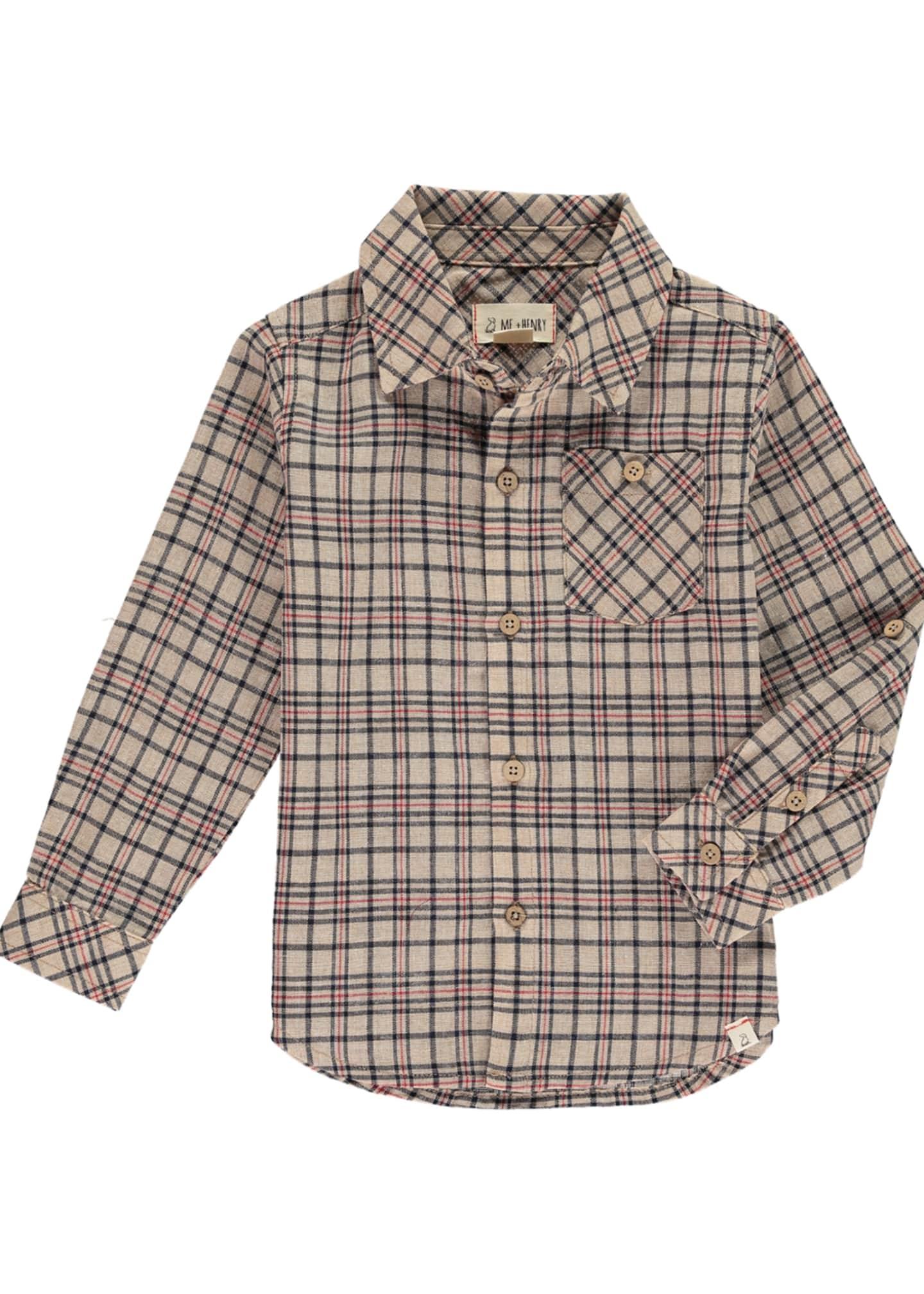 Me & Henry Boy's Woven Plaid Long-Sleeve Shirt
