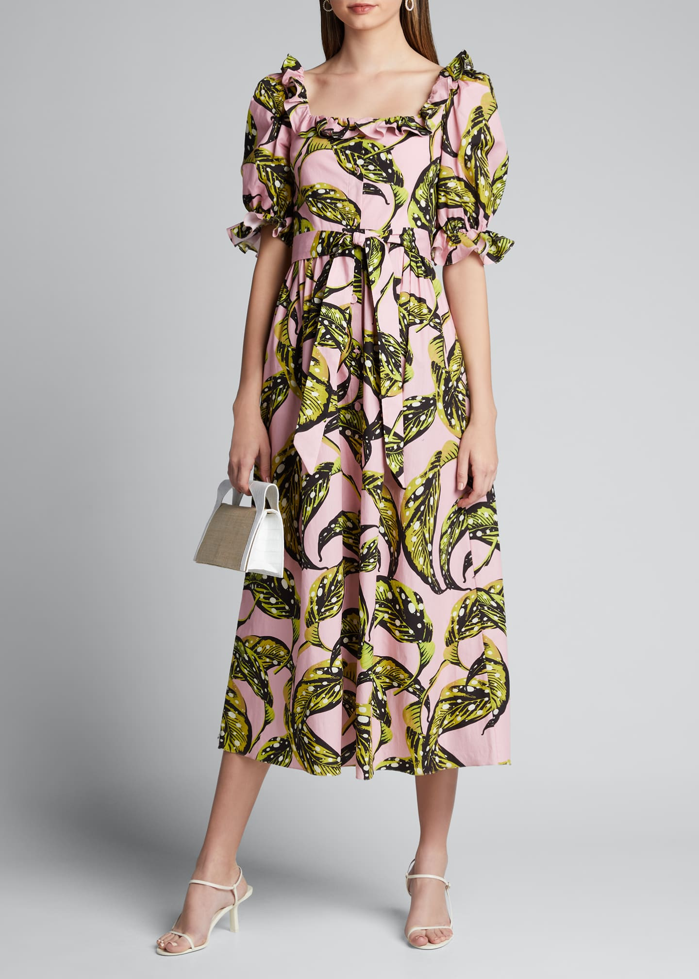 Borgo de Nor Corina Leaf-Print Poplin Puff-Sleeve Dress