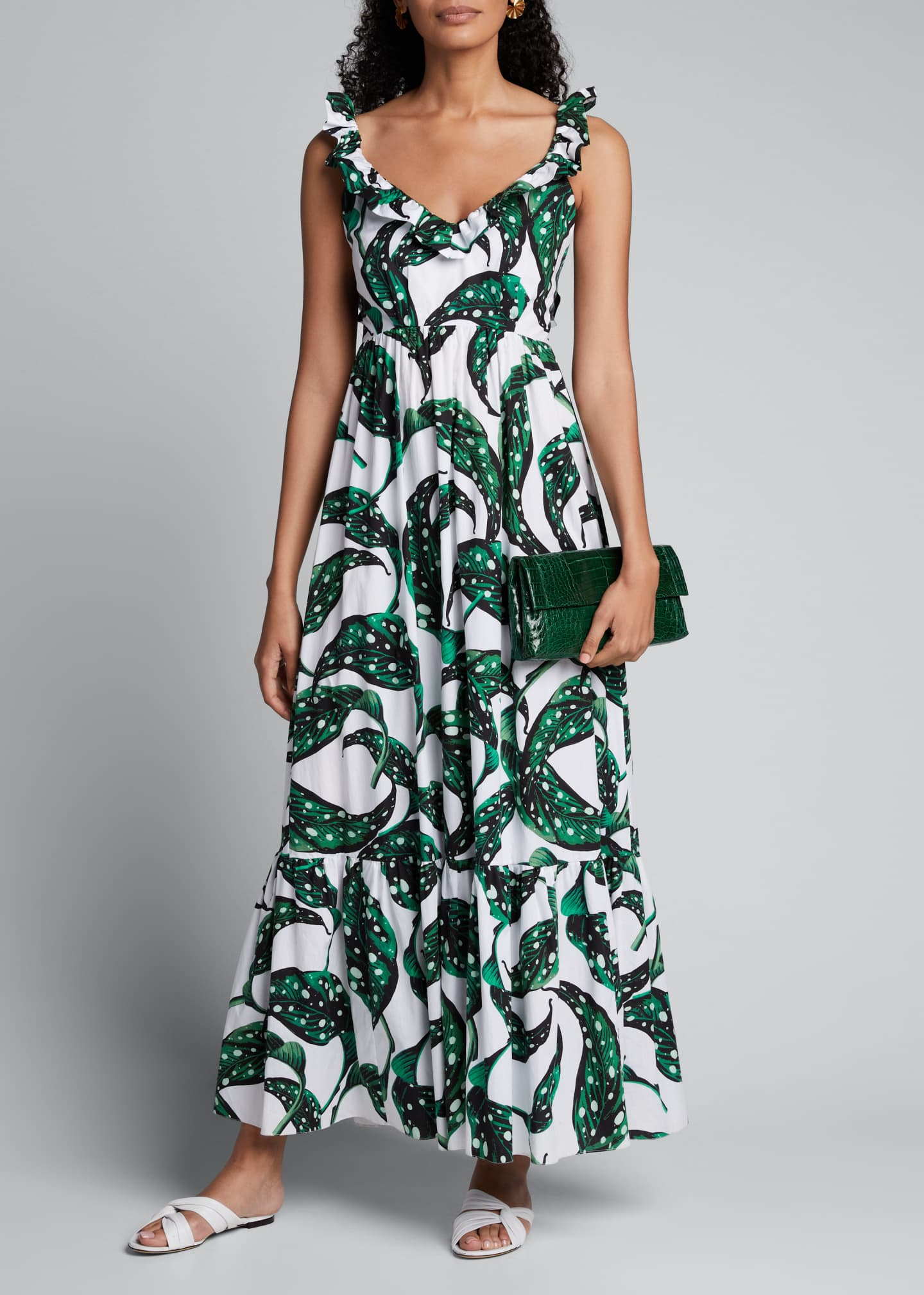 Borgo de Nor Liya Leaf-Print Ruffled V-Neck Dress