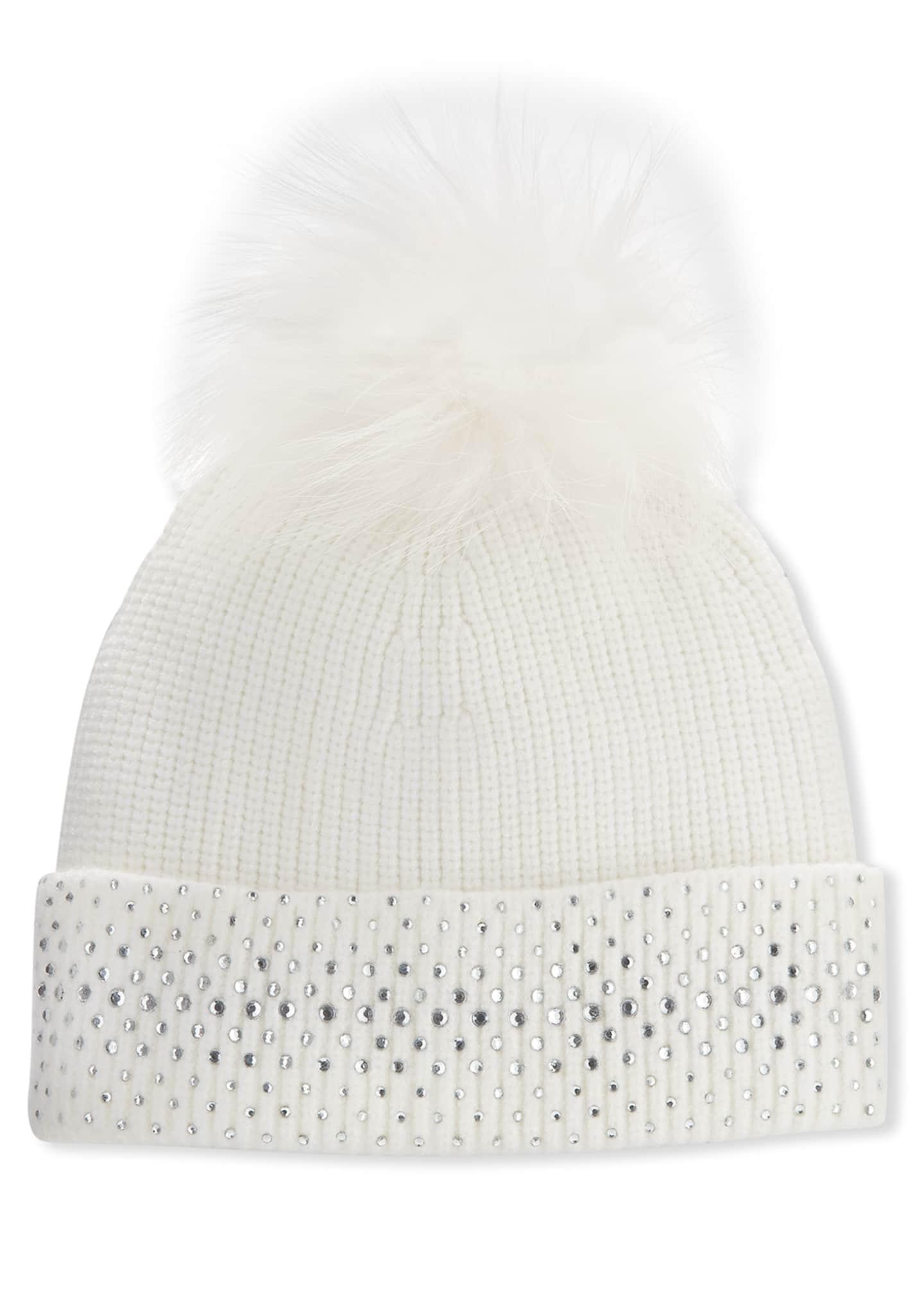 Bari Lynn Girl's Crystal Trim Rib Knit Beanie