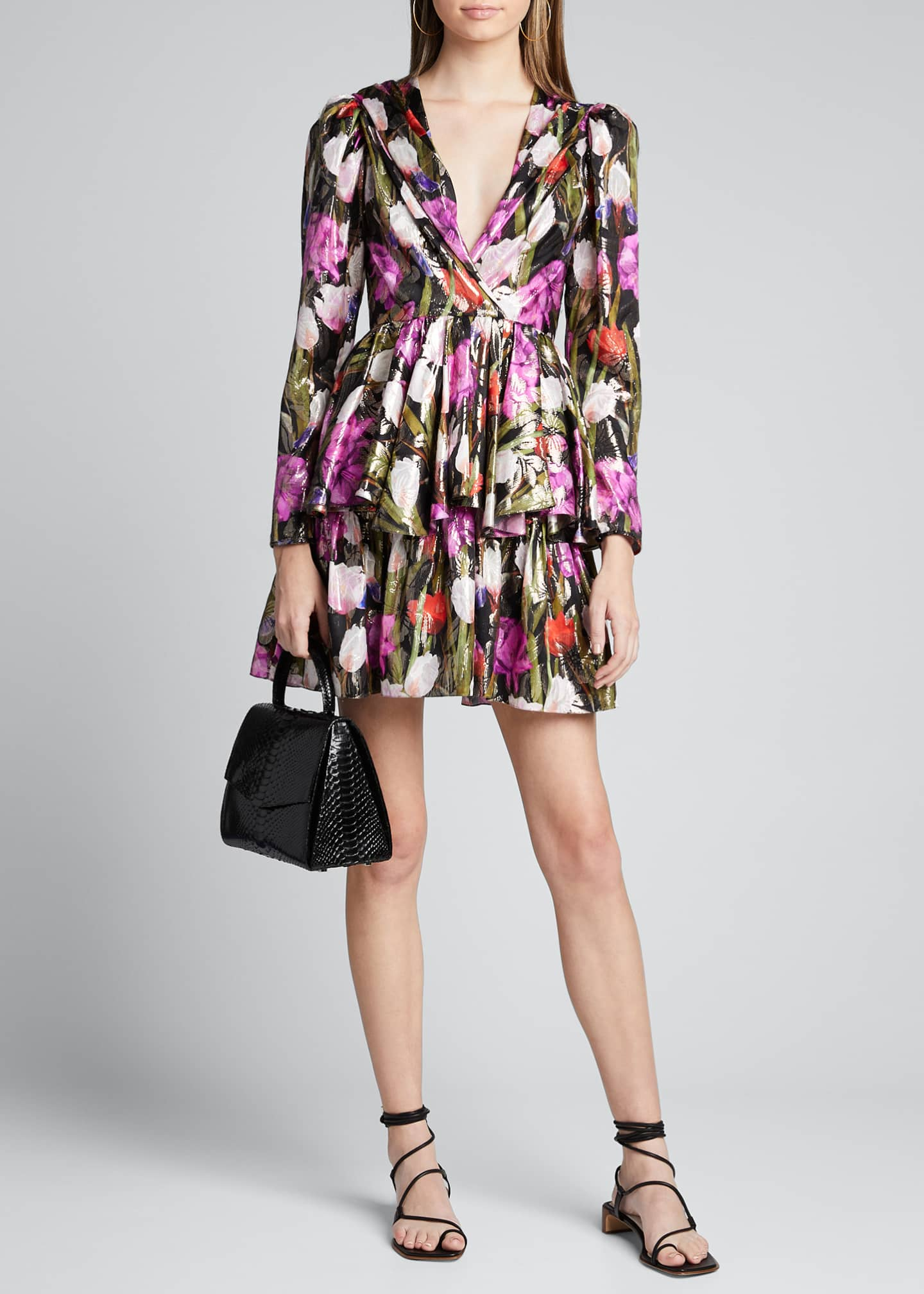 Borgo de Nor Amelia Metallic Floral Jacquard Dress