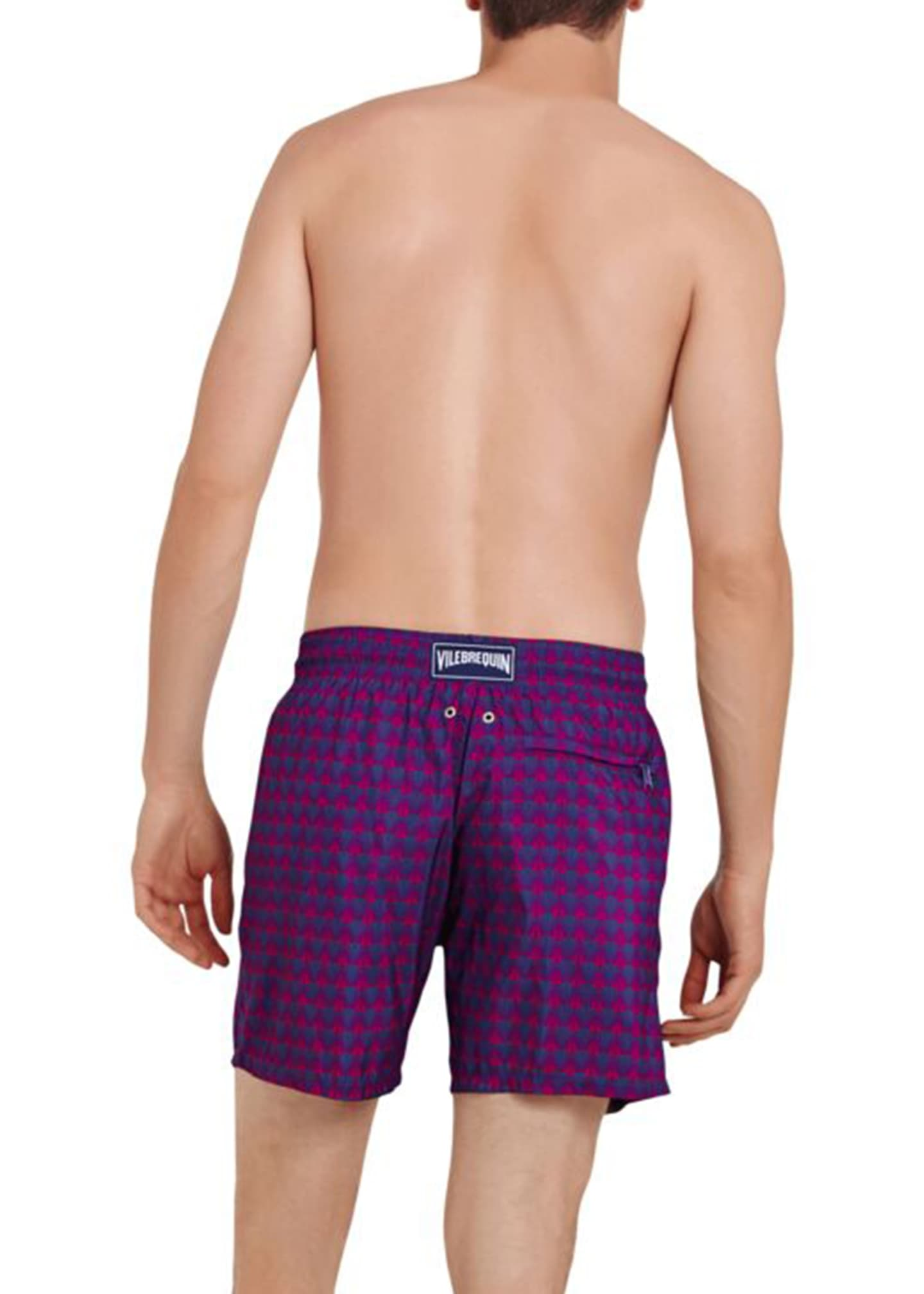 Image 2 of 2: Men's Perspective Fishes-Print Swim Trunks