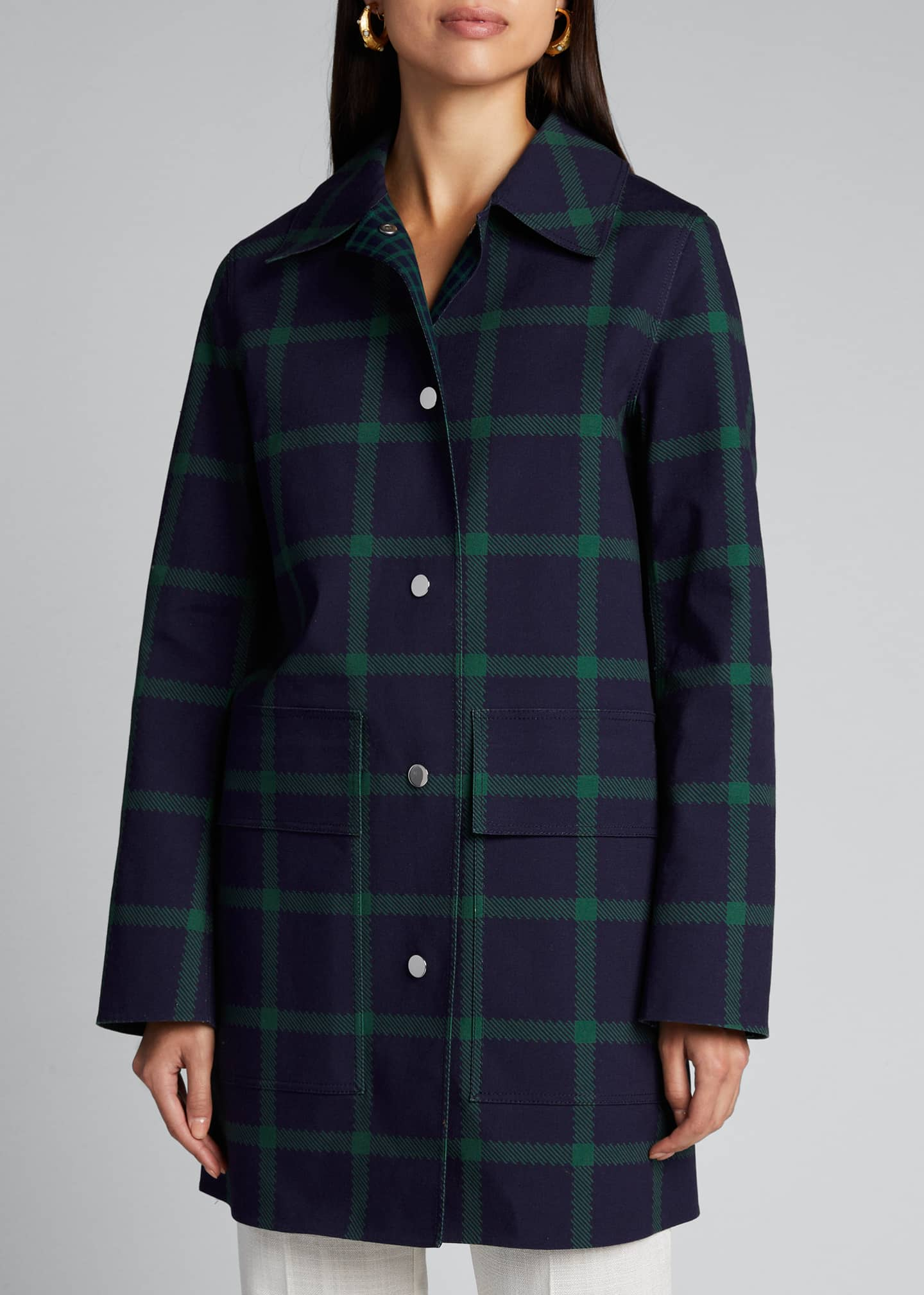 Image 3 of 5: Mckinleigh Crosshatch Cotton Plaid Button-Front Coat