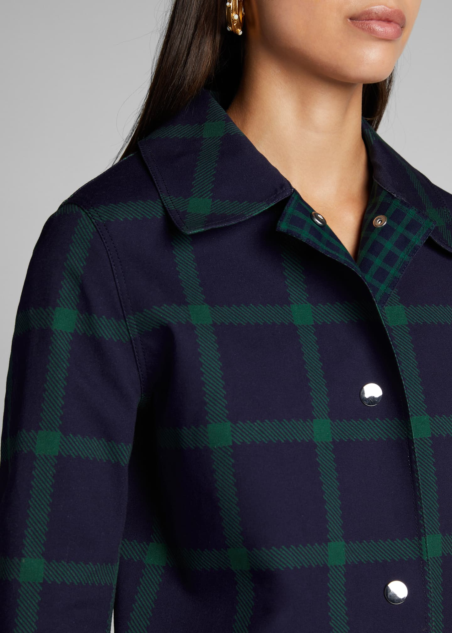 Image 4 of 5: Mckinleigh Crosshatch Cotton Plaid Button-Front Coat