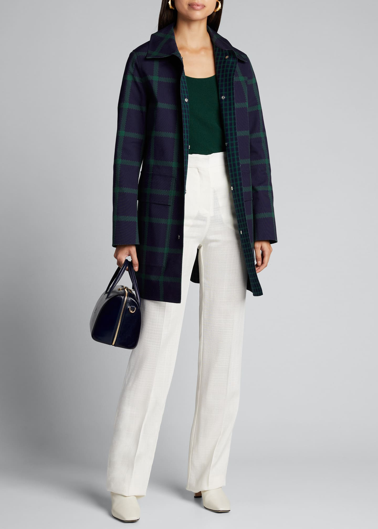 Image 1 of 5: Mckinleigh Crosshatch Cotton Plaid Button-Front Coat