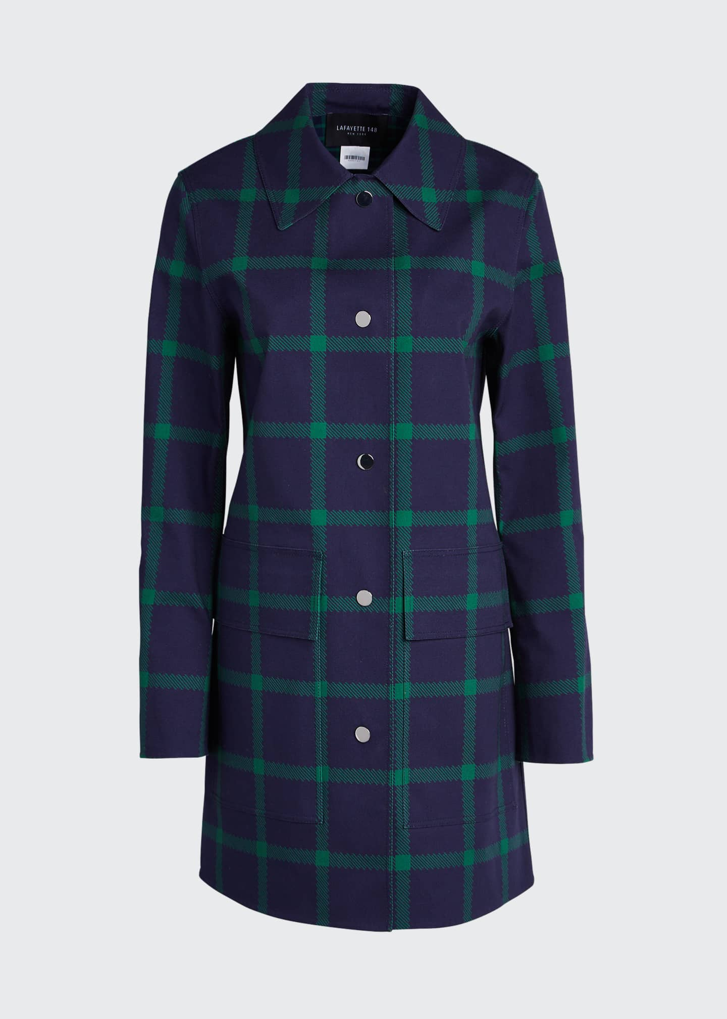Image 5 of 5: Mckinleigh Crosshatch Cotton Plaid Button-Front Coat